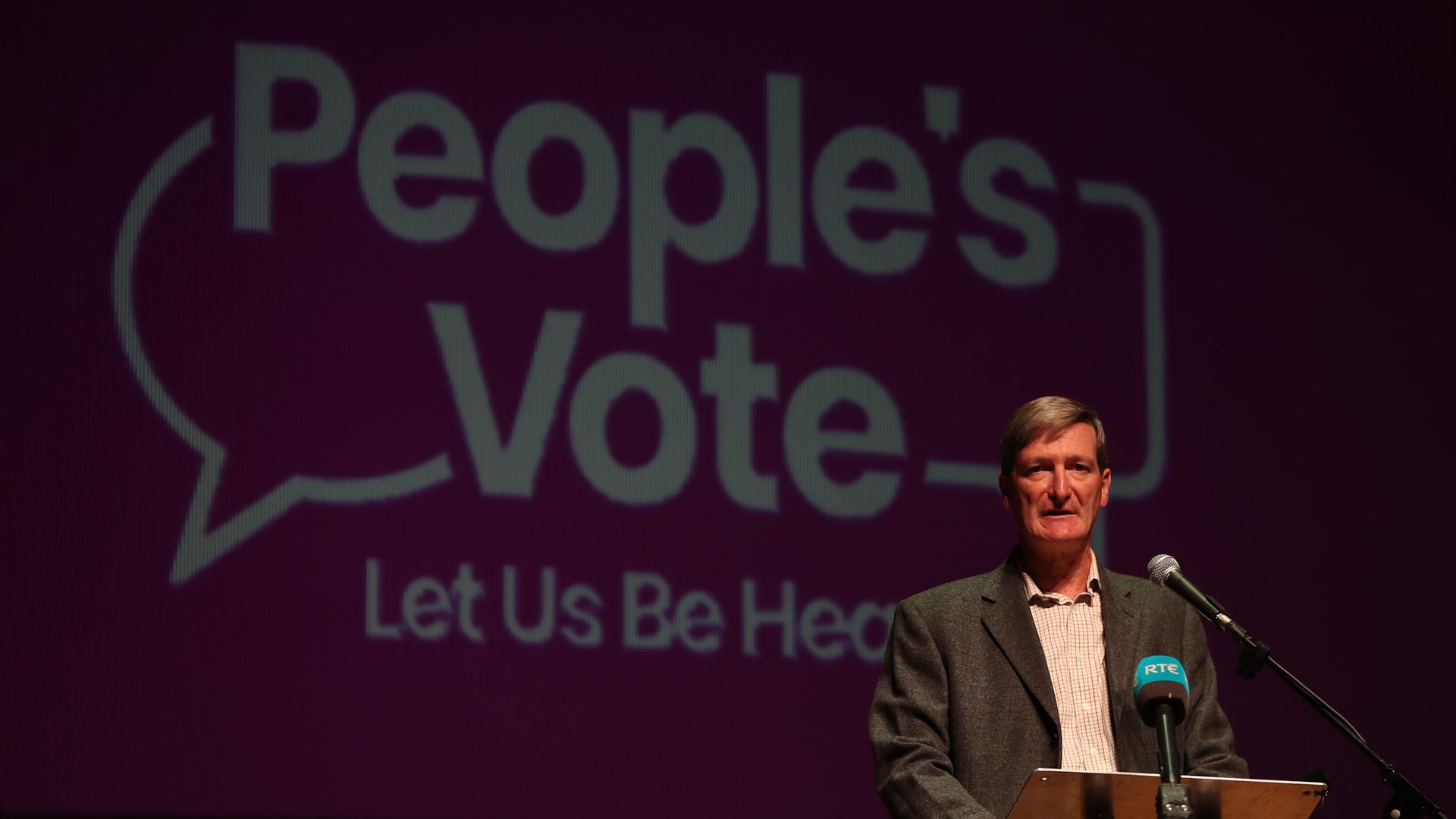 Dominic Grieve speaks at an anti-no deal Brexit rally at Ulster Hall in Belfast - Credit: PA