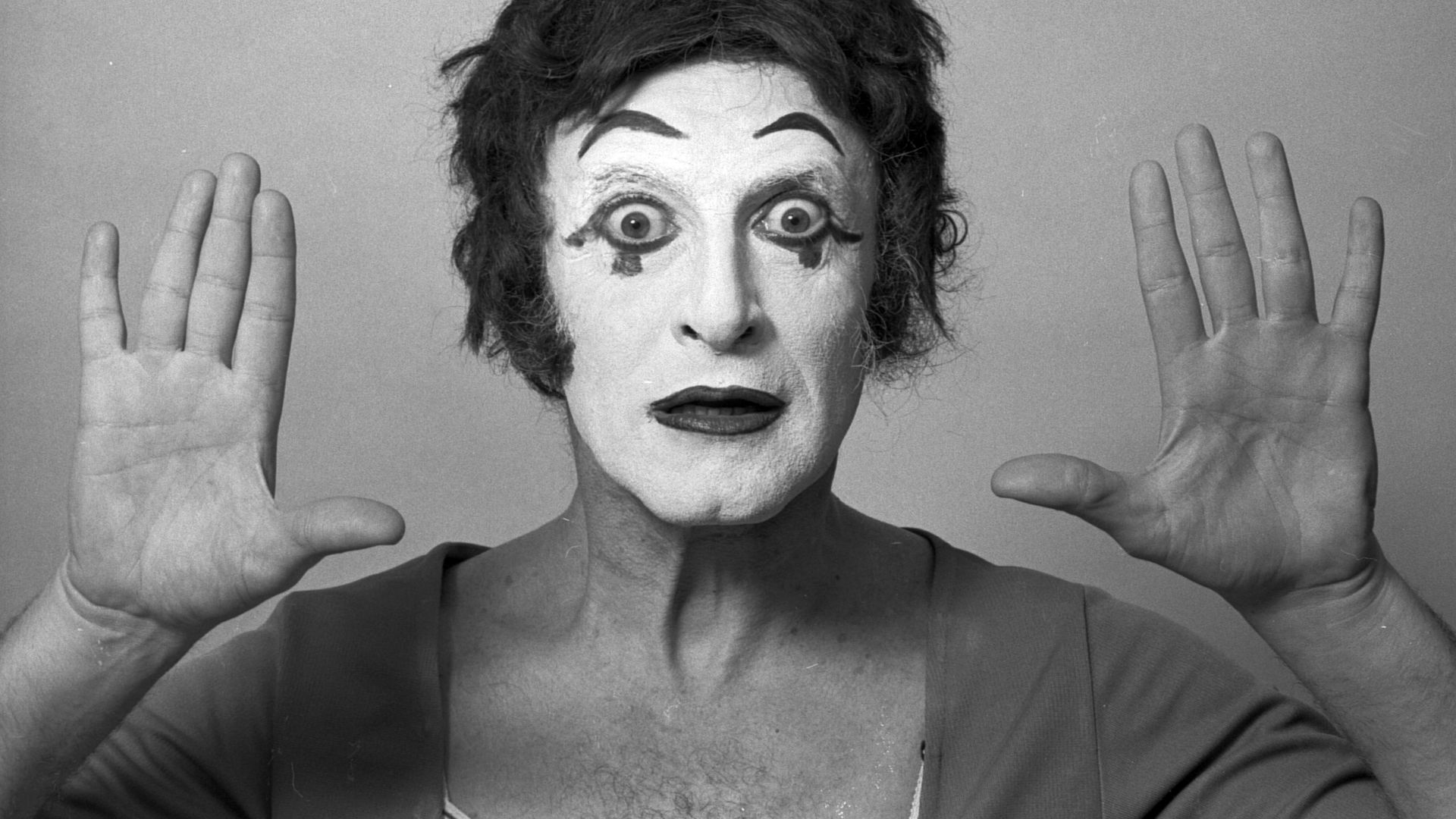French actor and mime Marcel Marceau as Bip the Clown in New York, March 1973 - Credit: Getty Images
