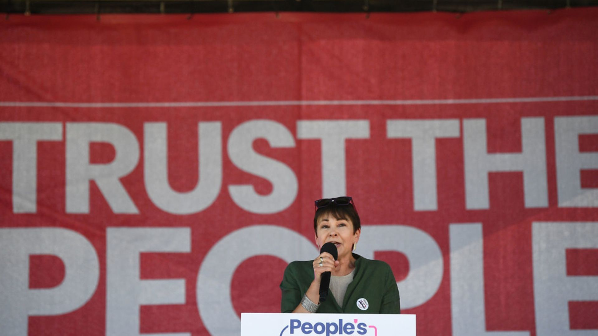 Green Party MP Caroline Lucas speaks at the Anti-Brexit 'Trust the People' march and rally - Credit: PA