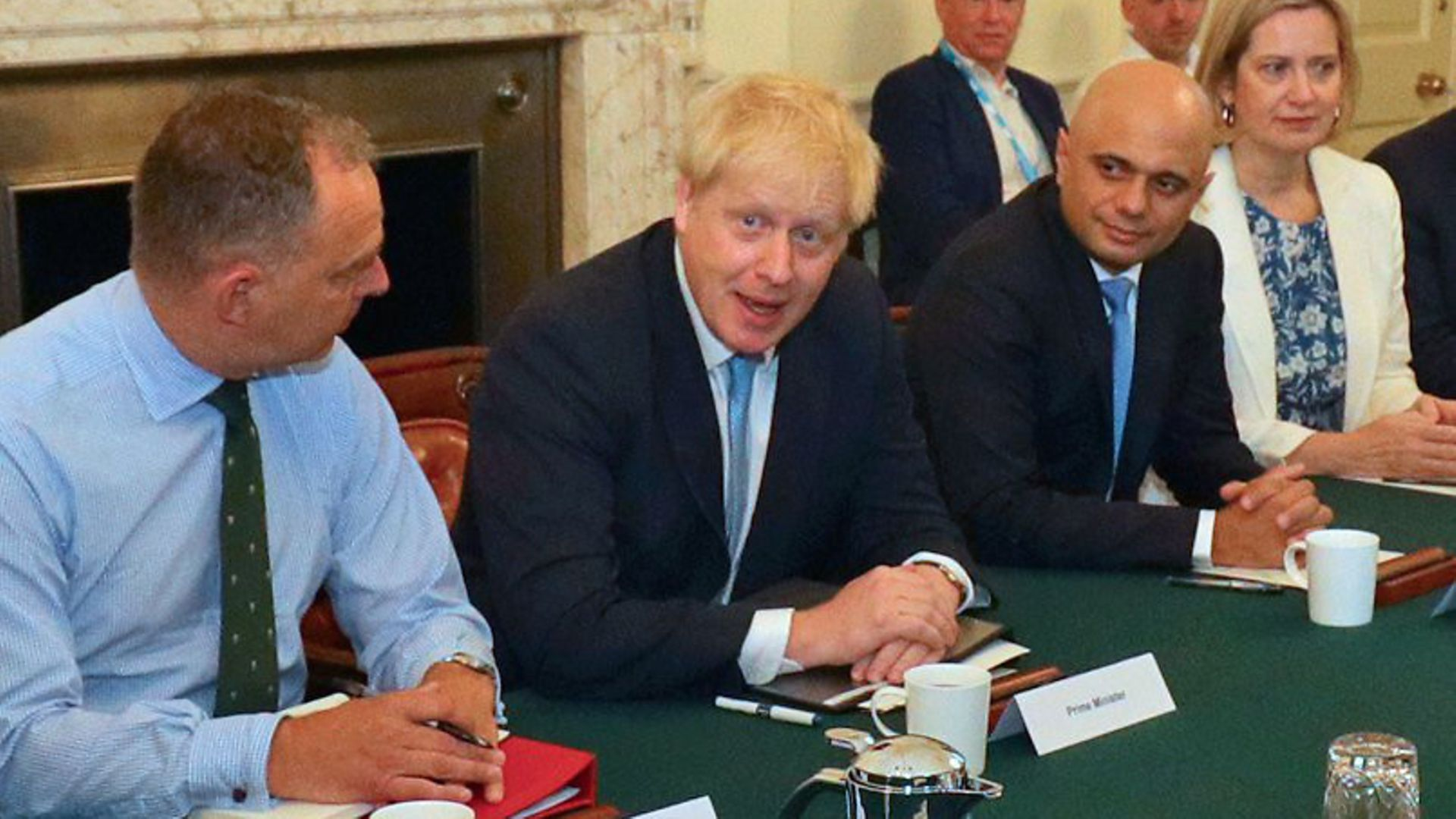Boris Johnson with Sir Mark Sedwill, Sajid Javid, Amber Rudd, and Lee Cain (back right) as the PM holds his first cabinet meeting at Downing Street - Credit: PA Wire/PA Images