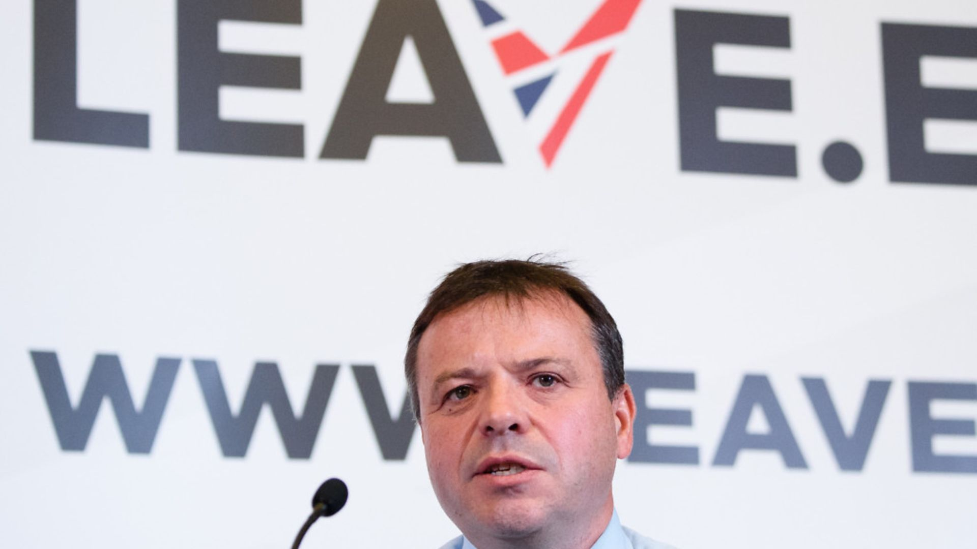 """British businessman Arron Banks takes part in a press briefing by the """"Leave.EU"""" campaign group - Credit: LEON NEAL/AFP/Getty Images"""