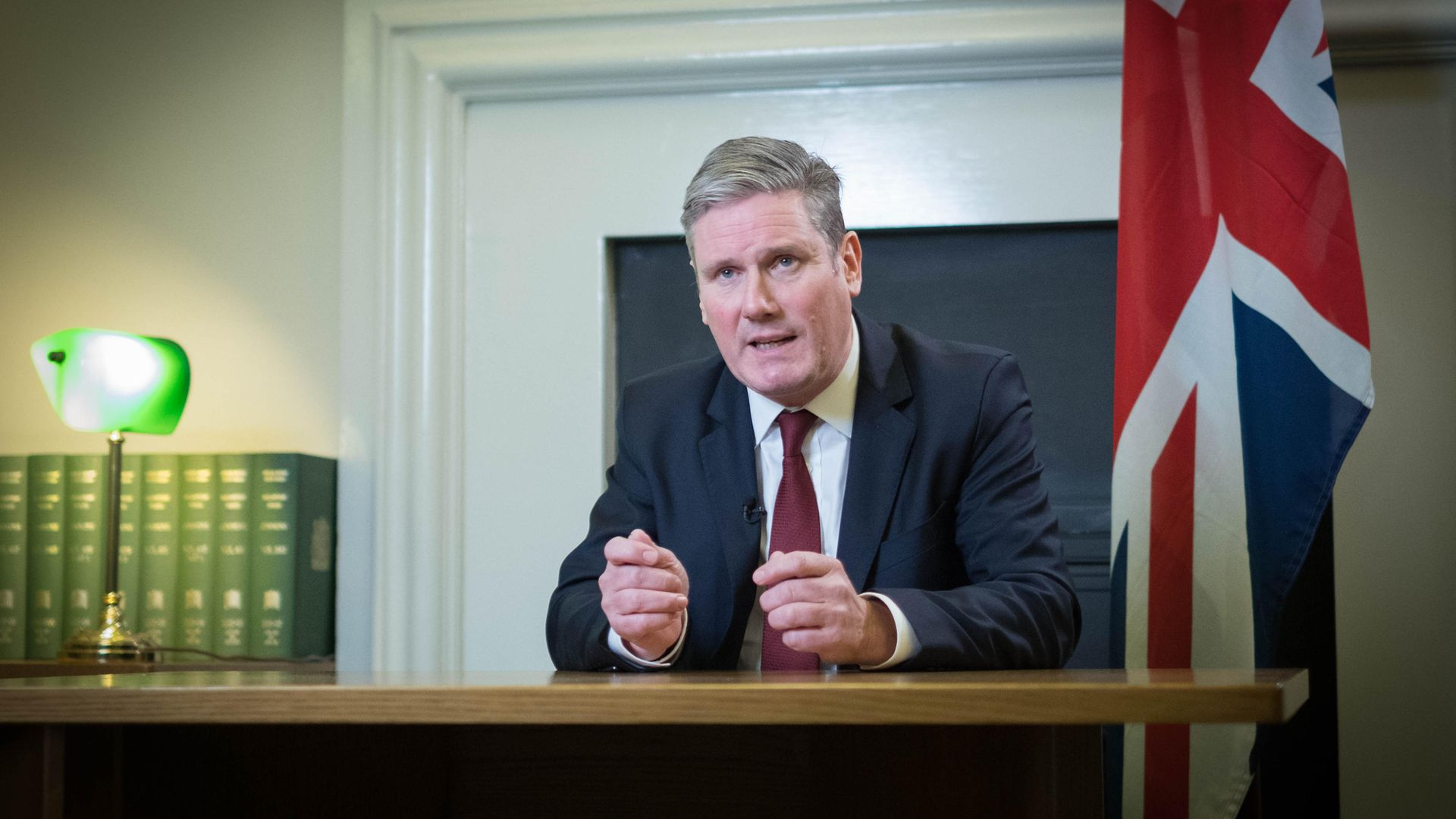 Labour leader Sir Keir Starmer delivers a statement from his office in the House of Commons in central London - Credit: PA