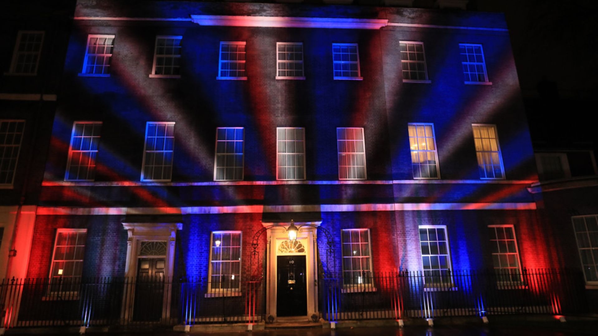 The union flag colours projected onto 10 Downing Street, to mark Brexit - Credit: PA