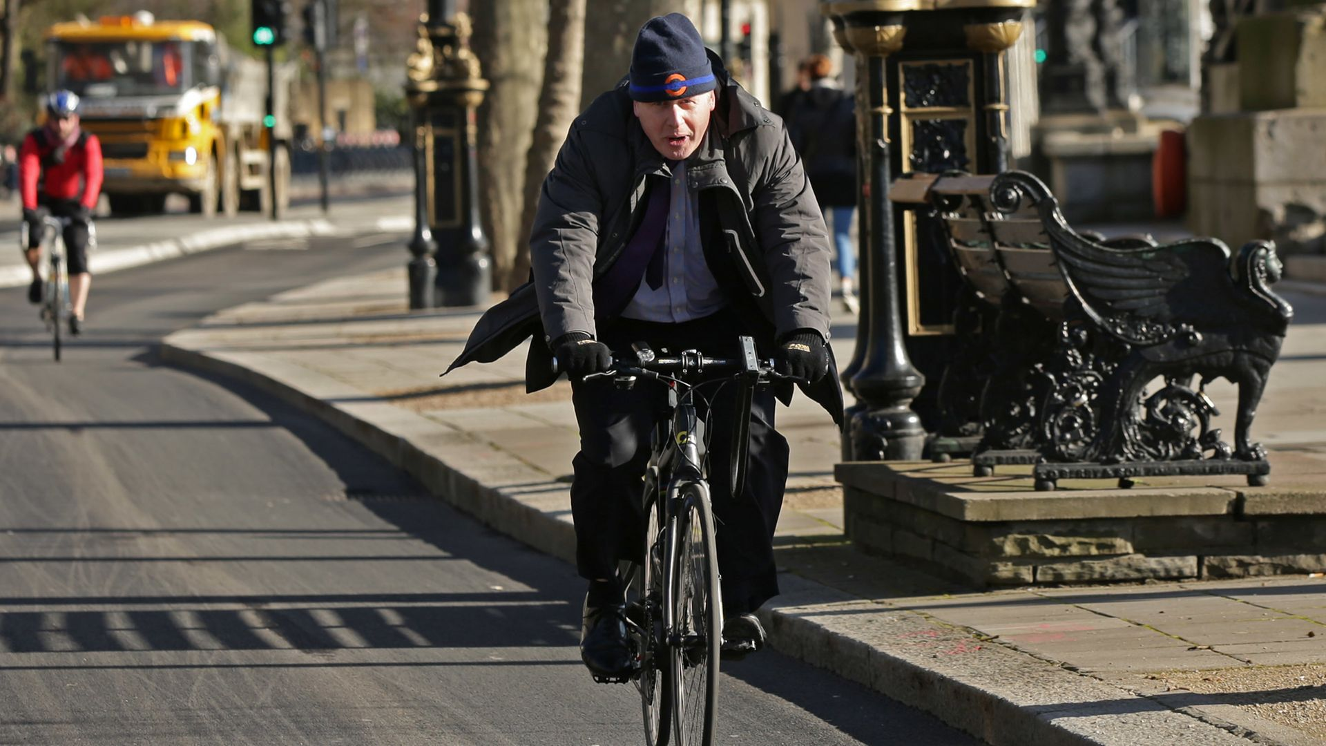Boris Johnson on his bike in archived photographs - Credit: PA