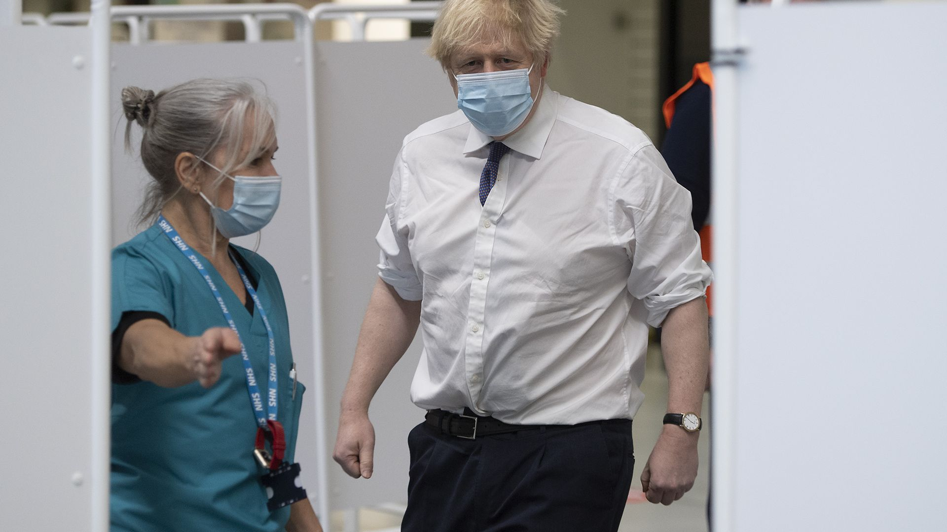 Prime minister Boris Johnson, with Head Nurse Anne Morris, at Ashton Gate Stadium in Bristol, during a visit to one of the seven mass vaccination centres now opened to the general public as the government continues to ramp up the vaccination programme against Covid-19. - Credit: PA