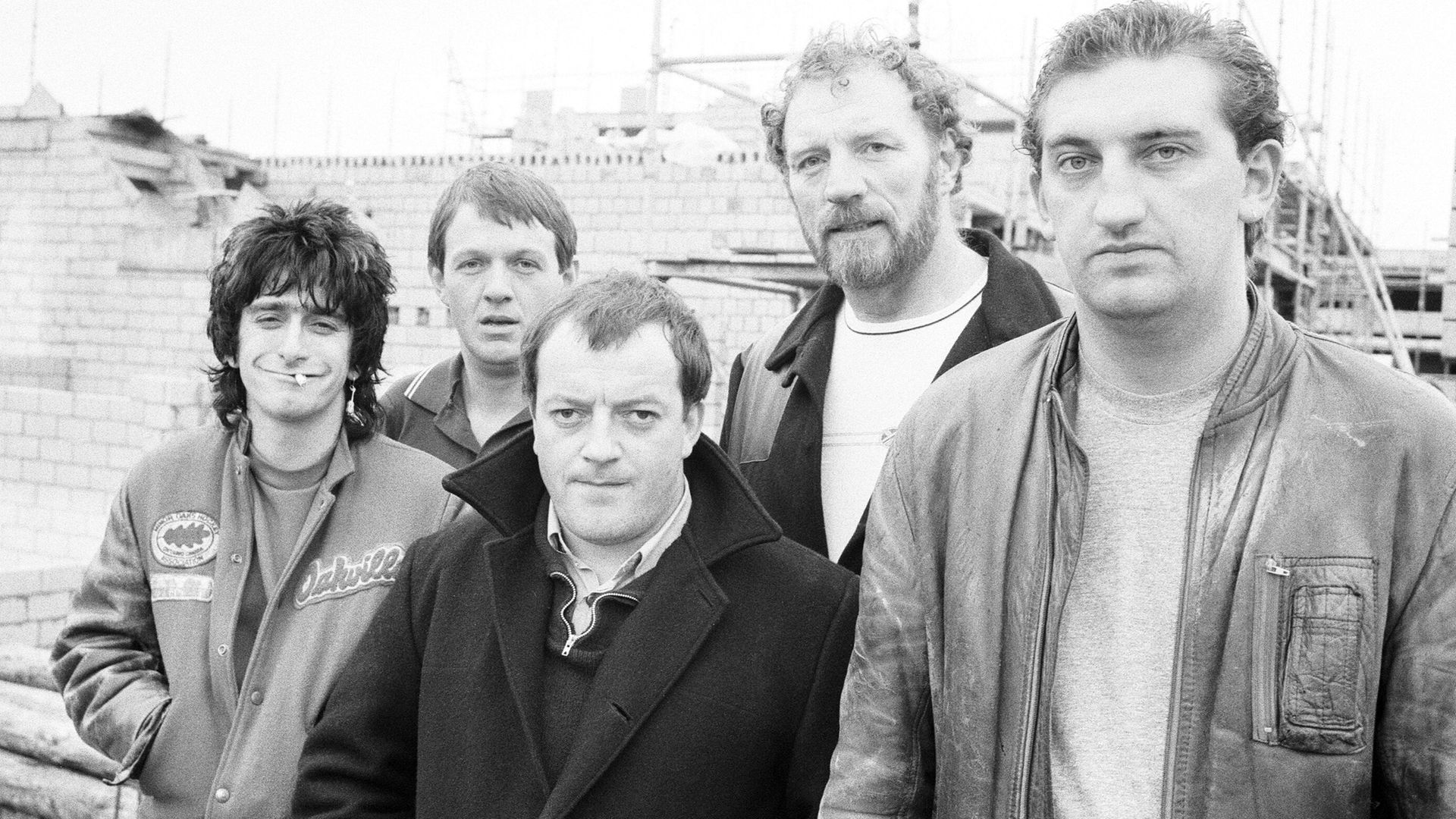 The cast of Auf Wiedersehen, Pet. From left: Gary Holton, Kevin Whately, Tim Healey, Pat Roach and Jimmy Nail - Credit: Getty Images