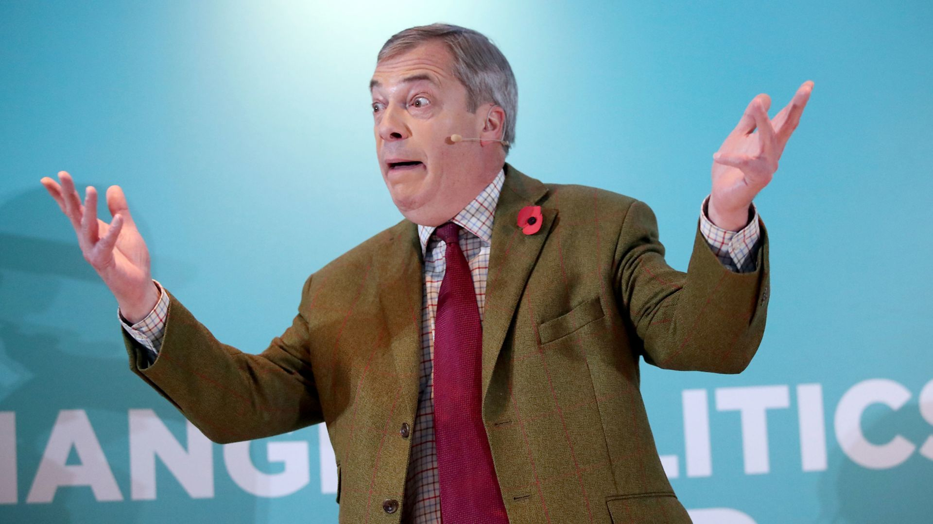 Nigel Farage addresses supporters at the Washington Central Hotel in Workington. - Credit: PA