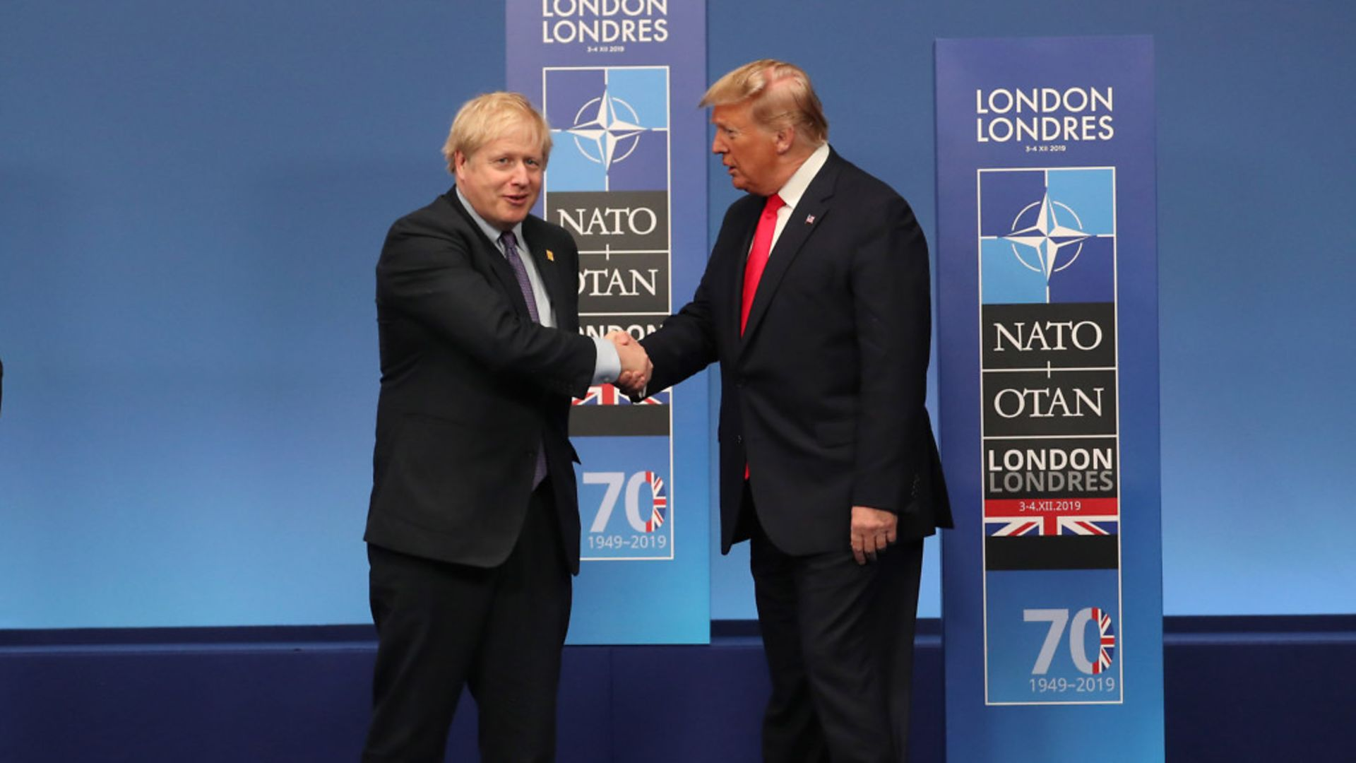 Prime minister Boris Johnson and out-going US President Donald Trump during the annual Nato heads of government summit - Credit: PA Wire/PA Images