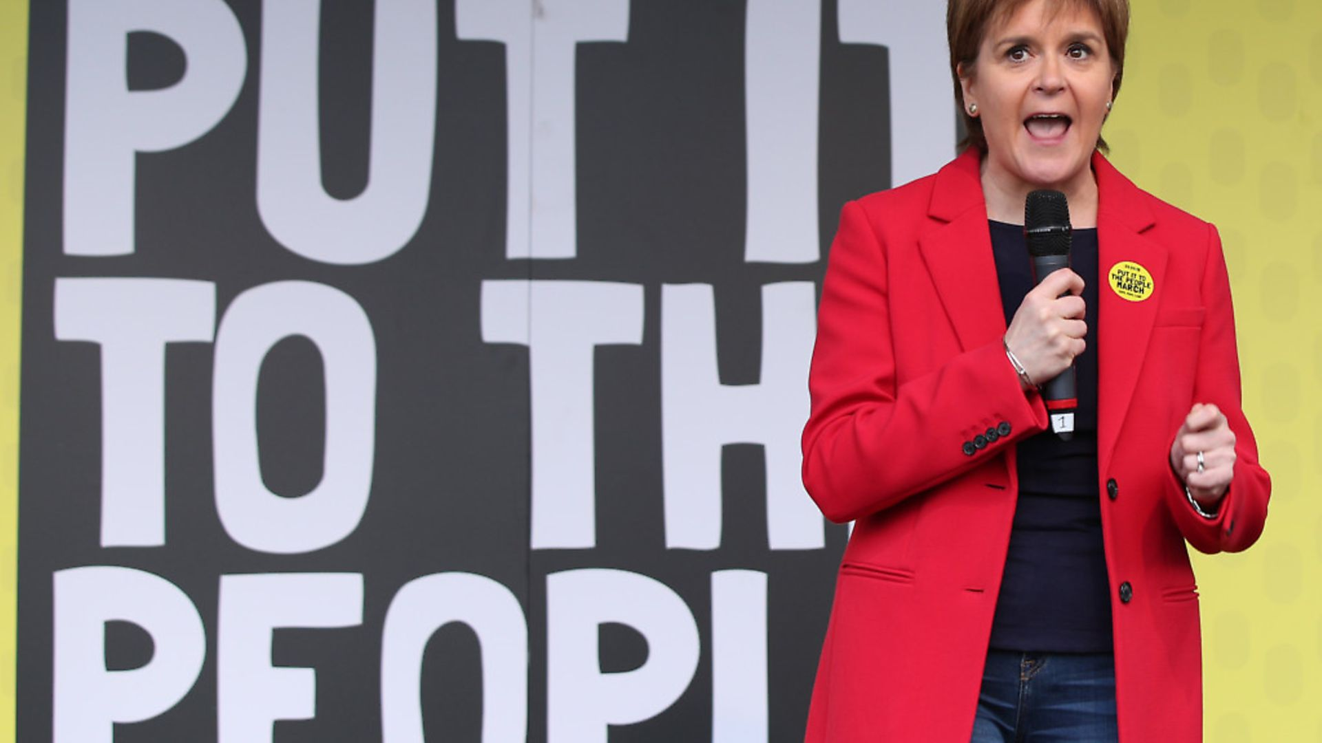 First Minister of Scotland Nicola Sturgeon addresses the People's Vote March in London. - Credit: PA Wire/PA Images