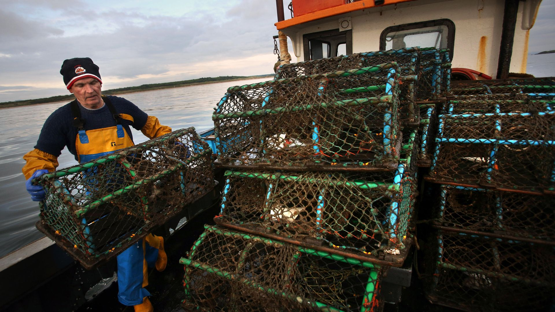 Lobster pots are stacked as Scottish inshore fishermen work off the east coast of Scotland, near Bass rock. - Credit: PA