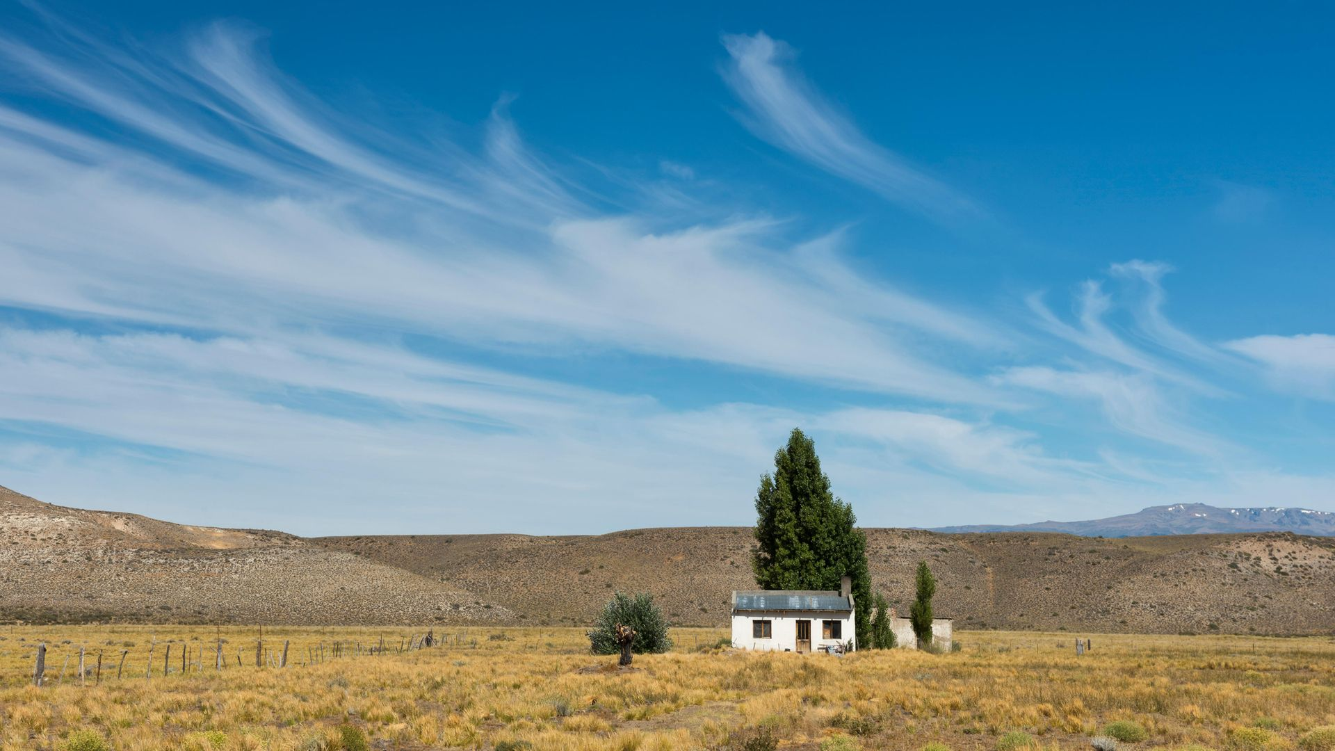 A house in the Pampas lowlands of Chubut, in Argentina - Credit: Universal Images Group via Getty
