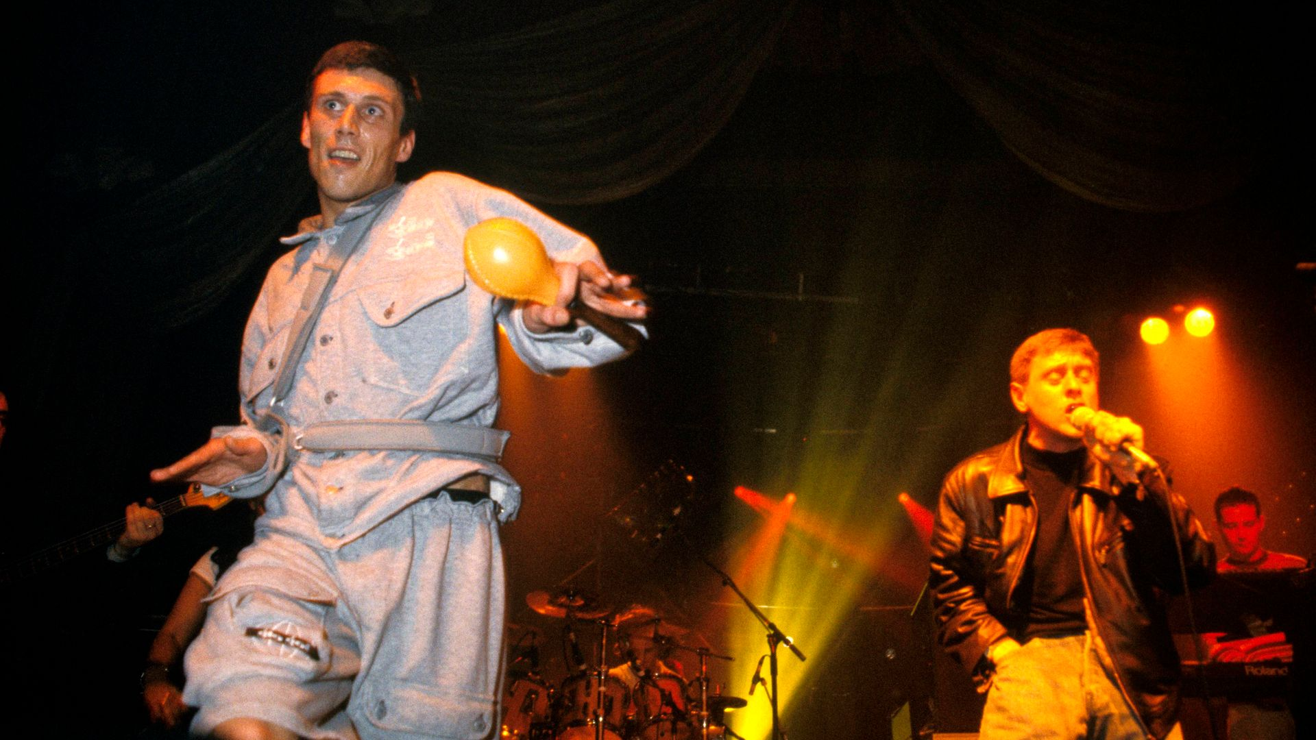 Bez, left, and Shaun Ryder, right, of the Happy Mondays - Credit: Redferns