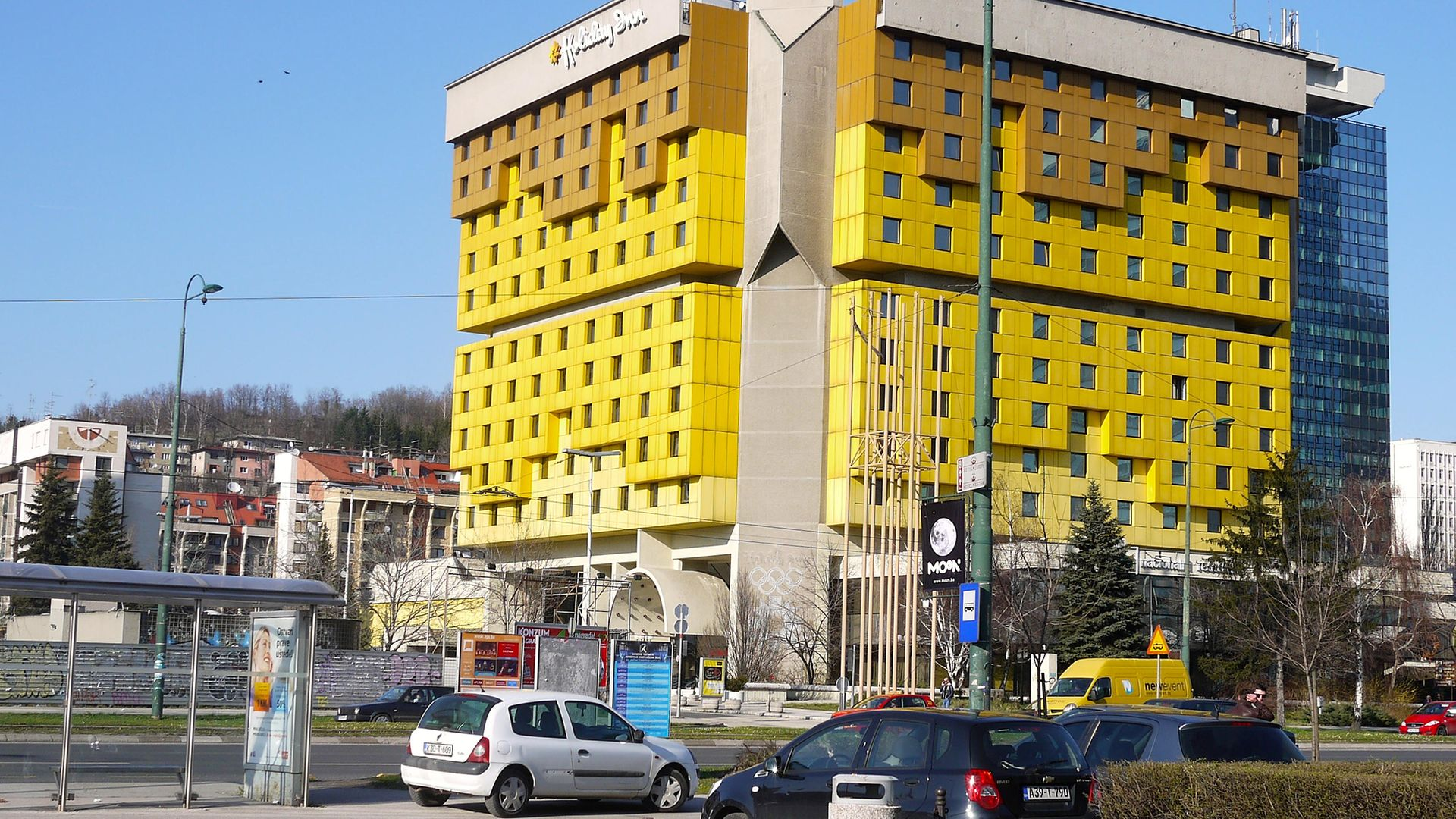 Sarajevo's distinctive Holiday Inn, where Charlie Connelly was a semi-regular visitor - Credit: Getty Images