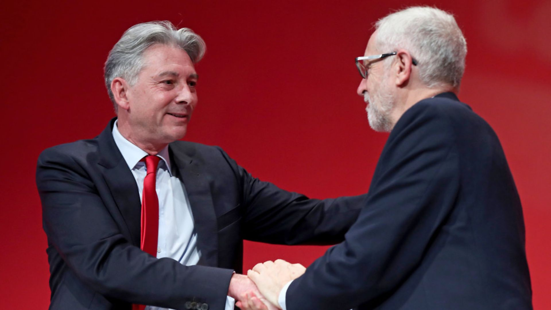 Richard Leonard (left) with Jeremy Corbyn, following a speech during the Labour Party Conference - Credit: PA