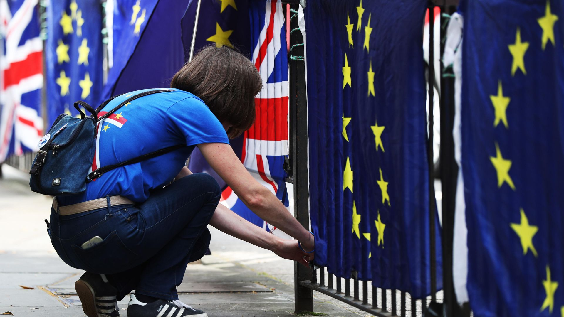 A pro-European activist with European flags - Credit: PA