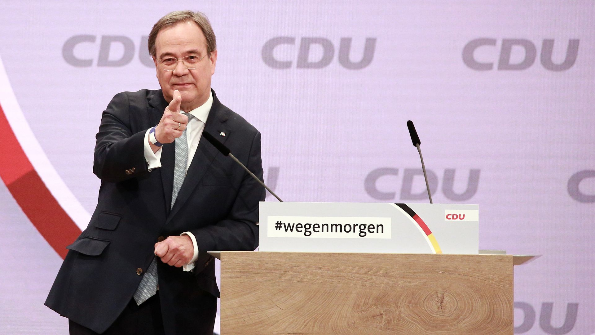 Armin Laschet speaks at the CDU party congress, where he was elected as its new leader - Credit: Getty Images