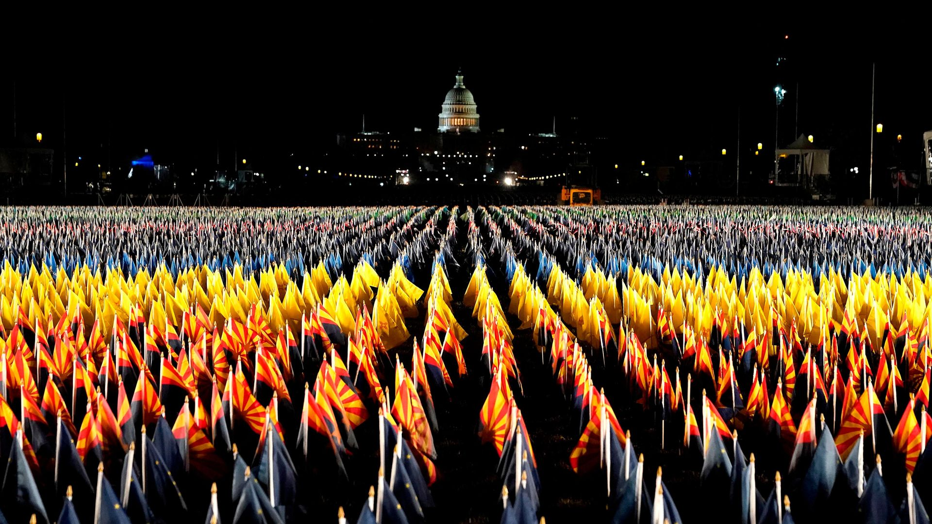 """The """"Field of Flags"""" on Washington DC's National Mall for the presidential inauguration ceremony - Credit: AFP via Getty Images"""