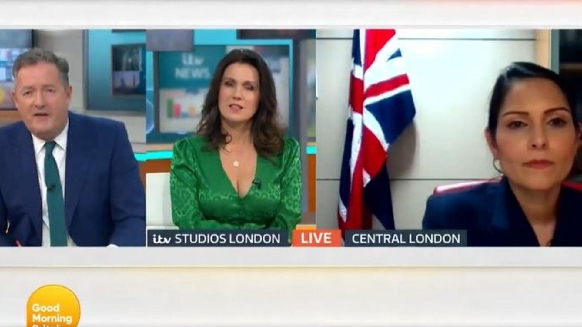 Piers Morgan (L), Susanna Reid (M) and Priti Patel on Good Morning Britain - Credit: Twitter