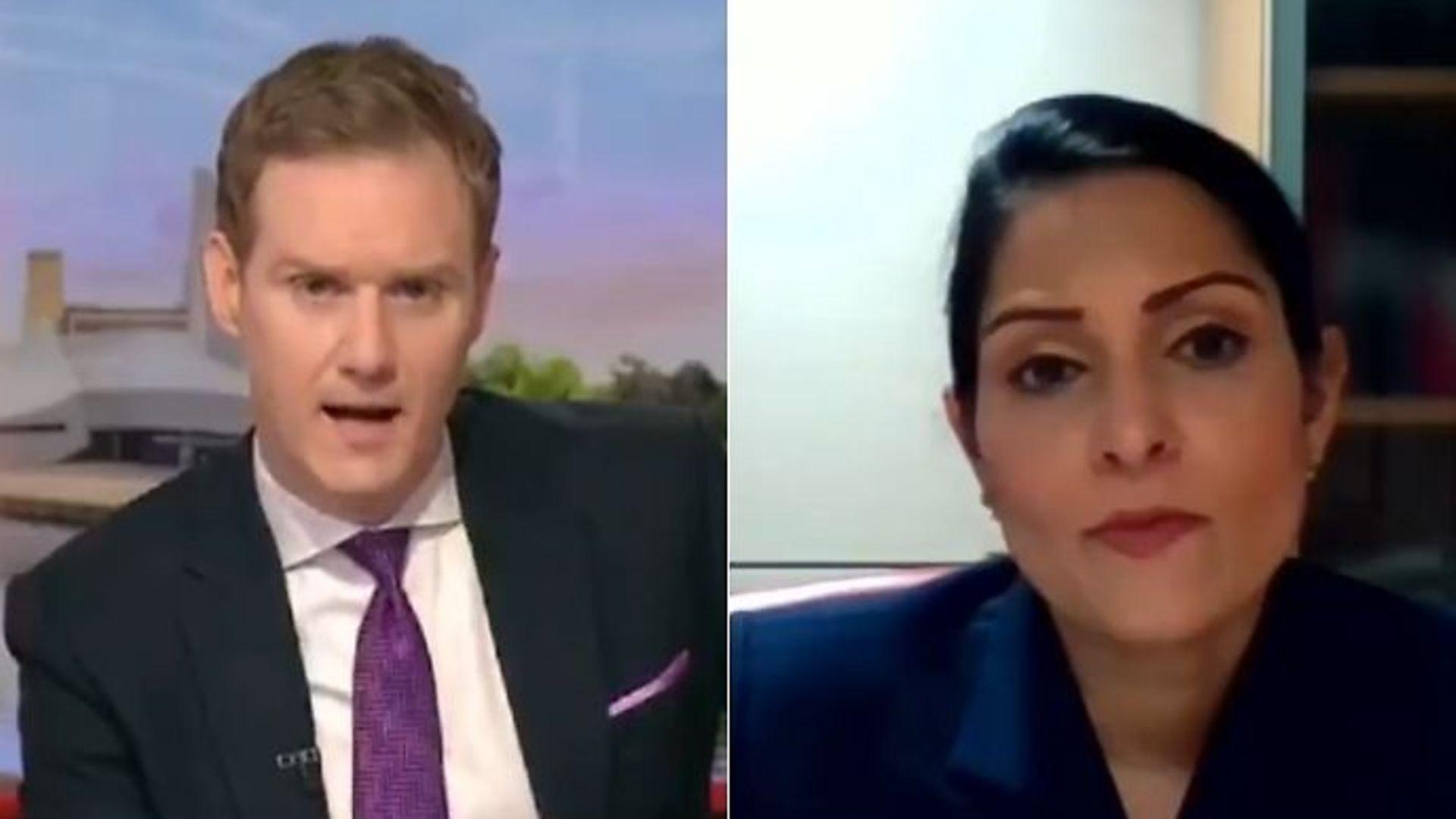 The BBC's Dan Walker (L) and home secretary Priti Patel - Credit: Twitter