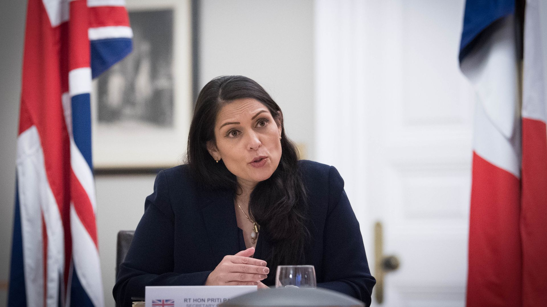 Home Secretary Priti Patel at the Home Office in central London - Credit: PA