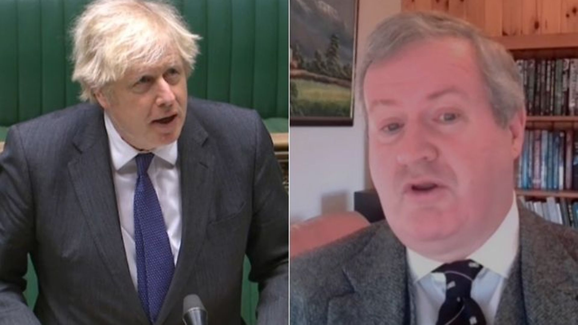 Boris Johnson (L) and SNP Commons leader Ian Blackford during Prime Minister's Questions - Credit: Parliamentlive.tv