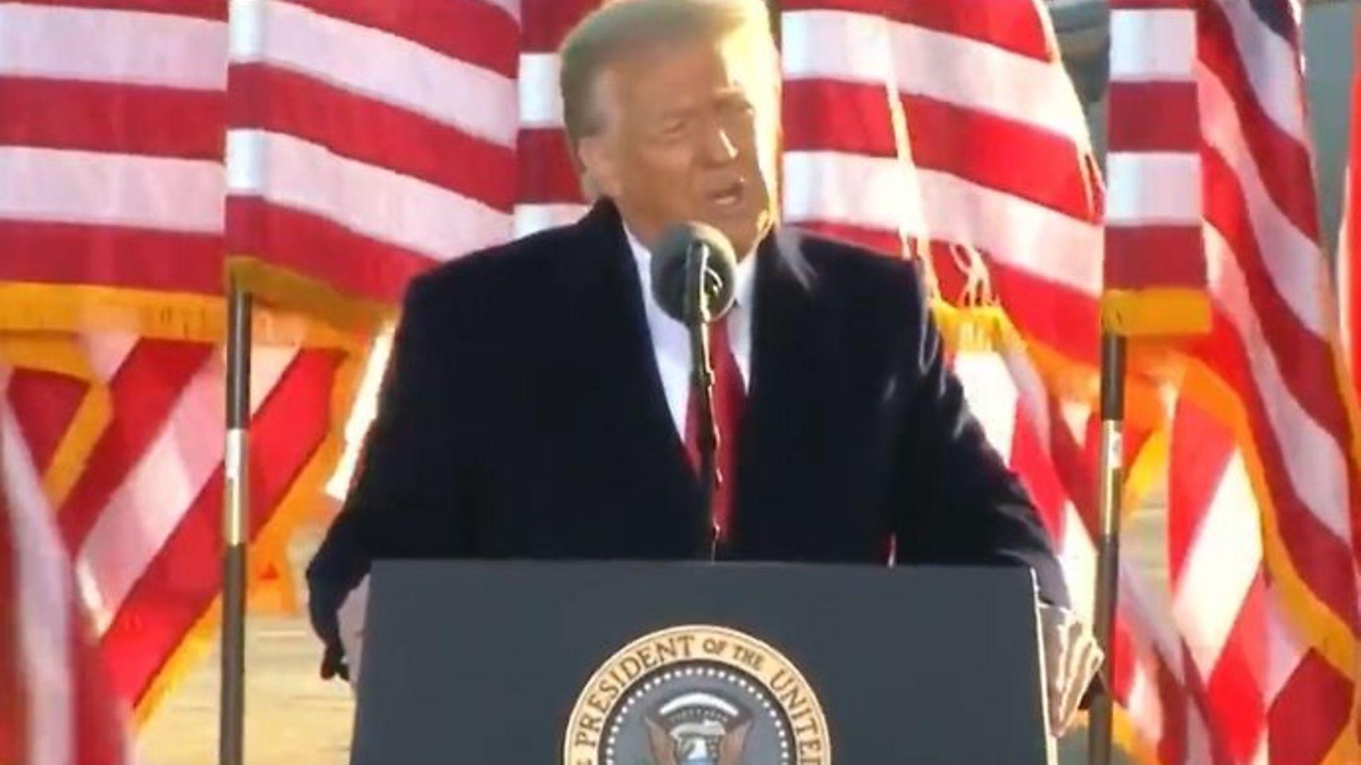 Outgoing US president Donald Trump - Credit: Sky News