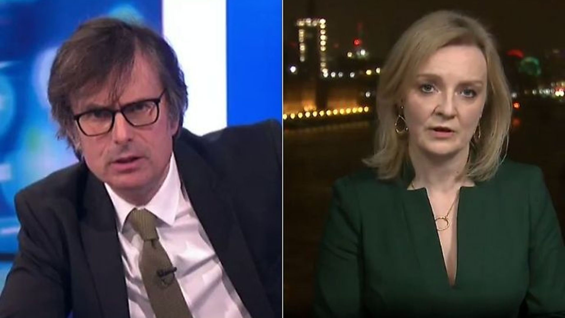 Liz Truss is questioned by Robert Peston - Credit: ITV
