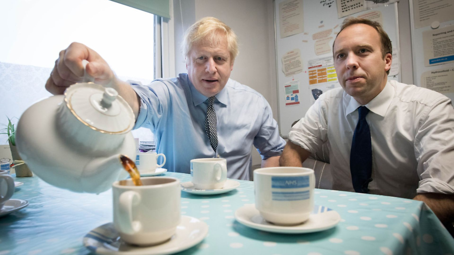Prime Minister Boris Johnson (left) with Health Secretary Matt Hancock during a visit to Bassetlaw District General Hospital in Worksop. Photograph: Stefan Rousseau/PA Wire. - Credit: PA