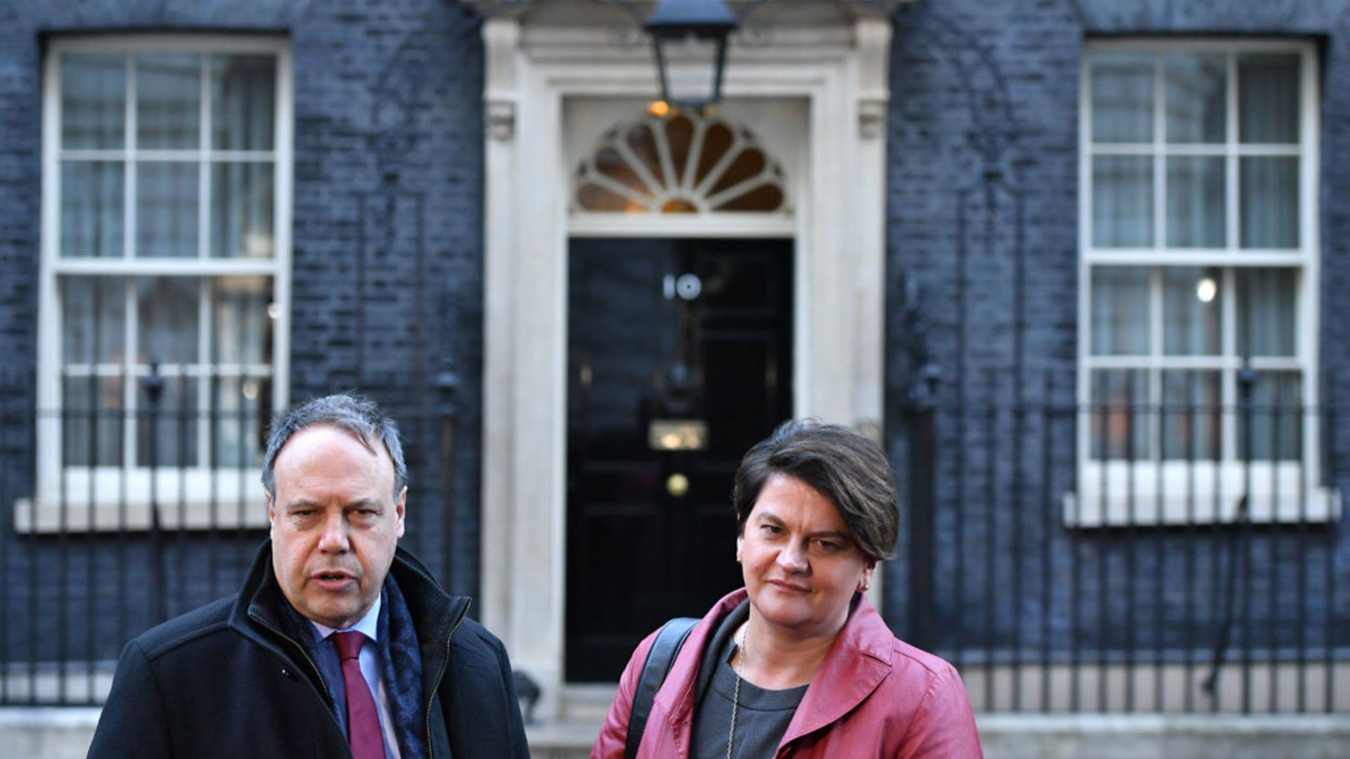 DUP deputy leader Nigel Dodds and leader Arlene Foster in Downing Street - Credit: PA Wire/PA Images