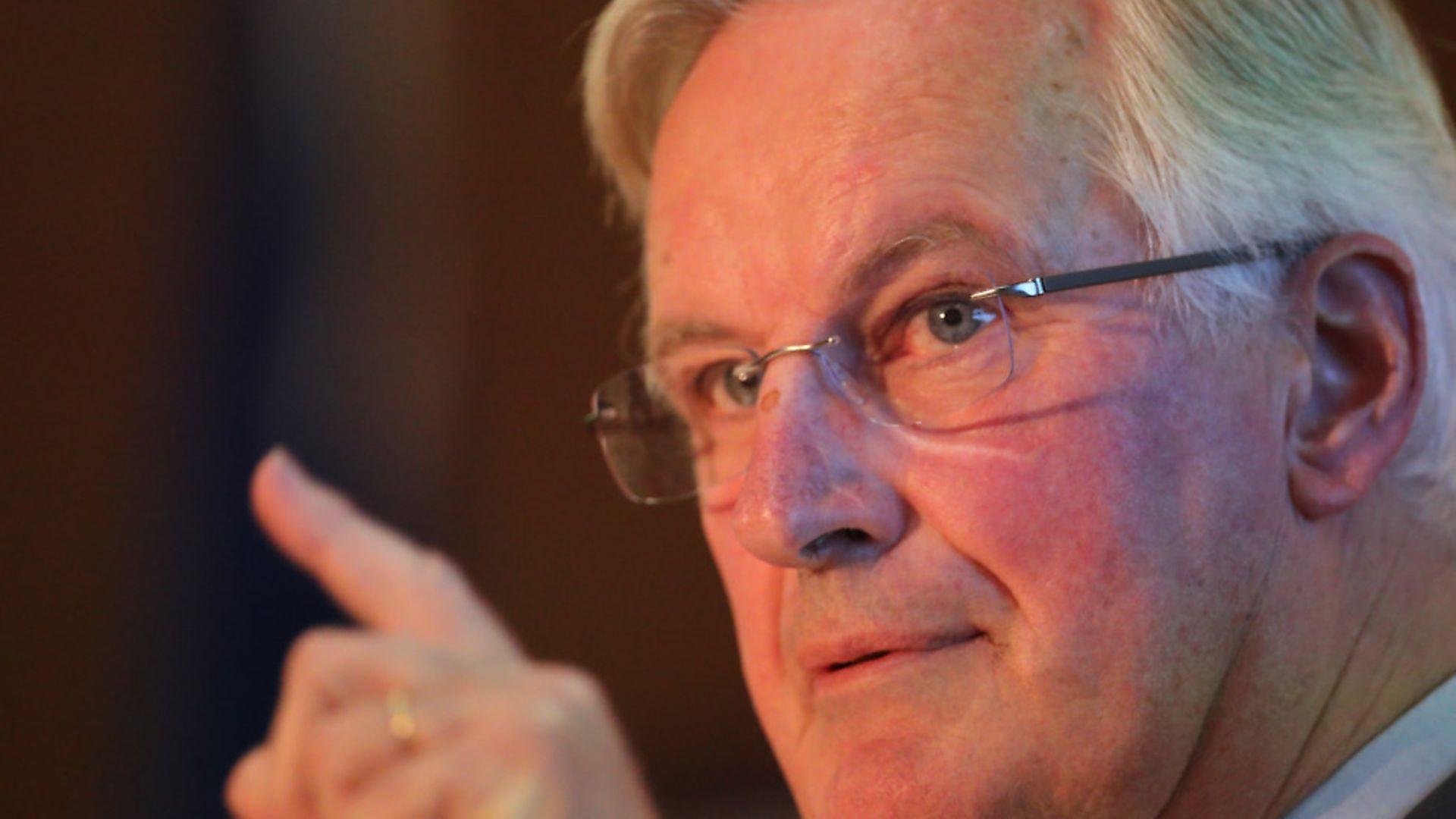 Michel Barnier, the EU's Brexit negotiator, speaking at Queen's University in Belfast. Photograph: Liam McBurney/PA. - Credit: PA