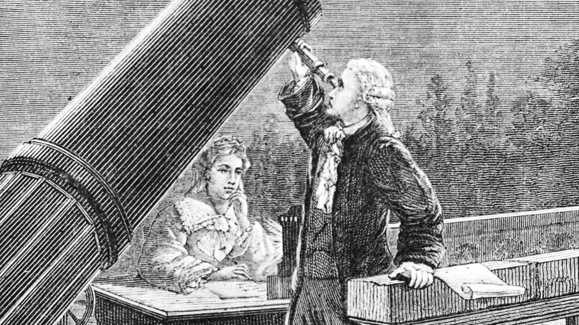 (Original Caption) William Herschel (1738-1822), famous astronomer discovering the planet Uranus. He is assisted by his sister, Caroline Lucretia (1750-1848). - Credit: Bettmann Archive