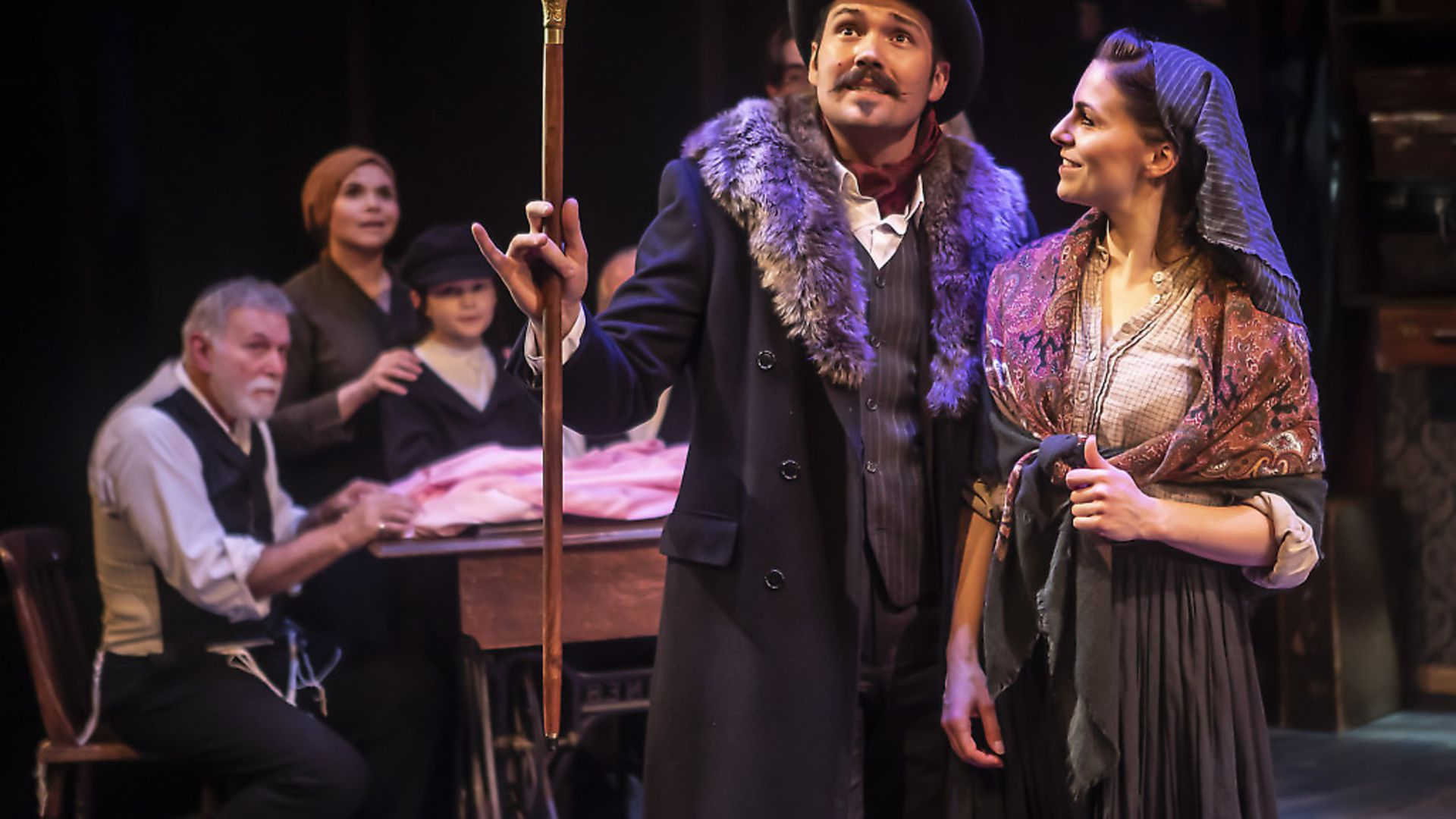 HUGE WASTE: Sam ATTwater as Bronfman and Crolyn Maitland as Rebecca in RAGS the Musical. Photo: Pamela Raith - Credit: Archant