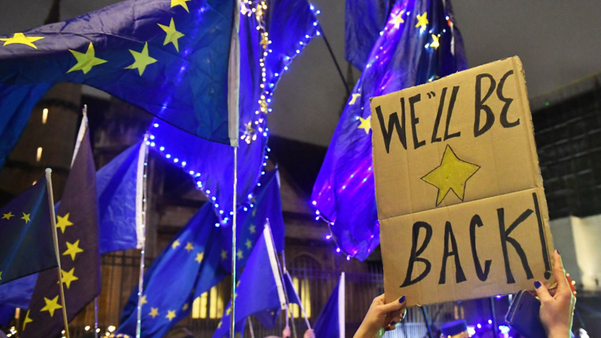 Pro-EU campaigners outside the Houses of Parliament ahead of Brexit day earlier this year - Credit: PA Wire/PA Images