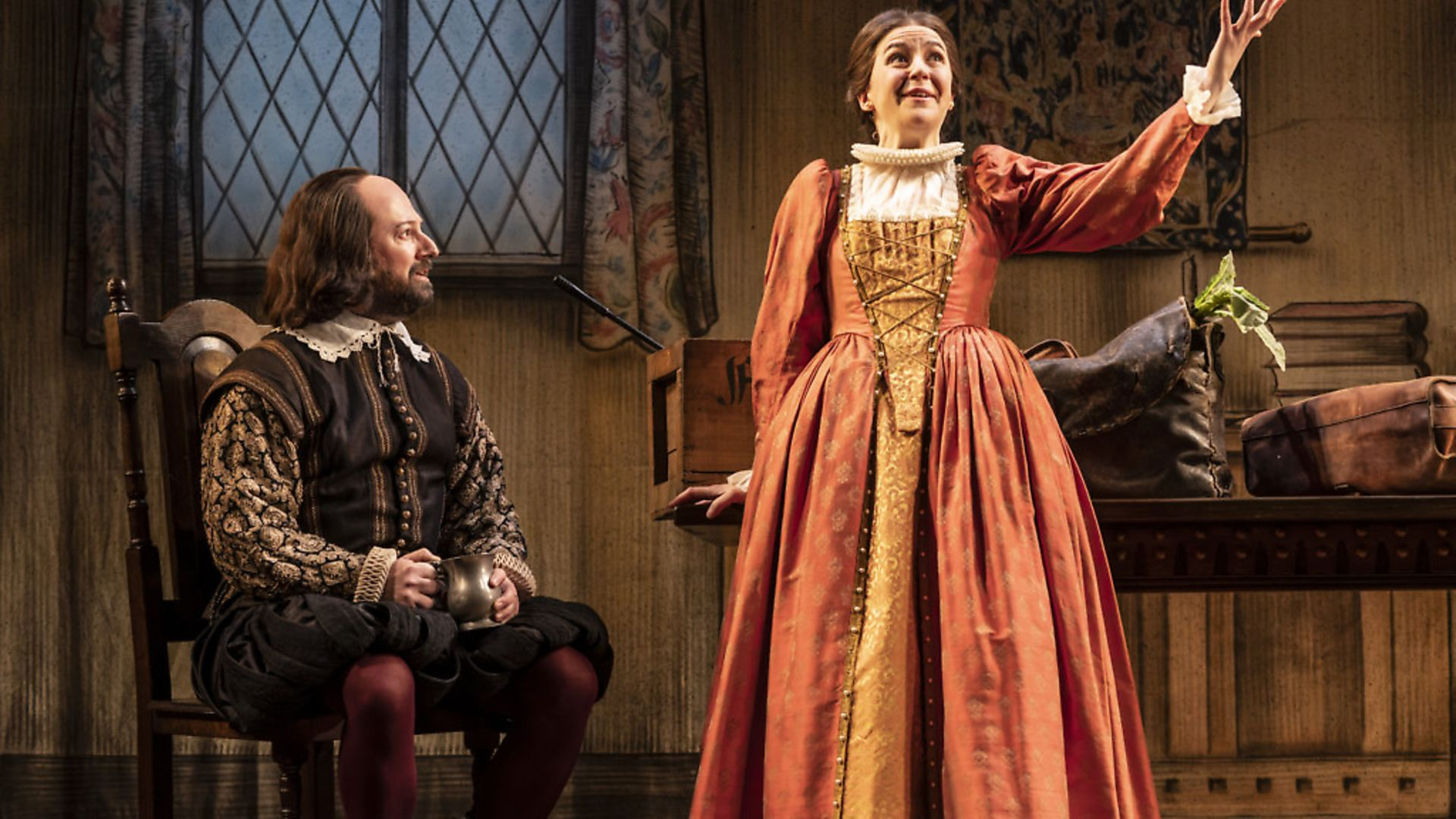 David Mitchell and Gemma Whelan in Upstart Crow at the Gielgud Theatre. Photograph: Johan Persson - Credit: Archant