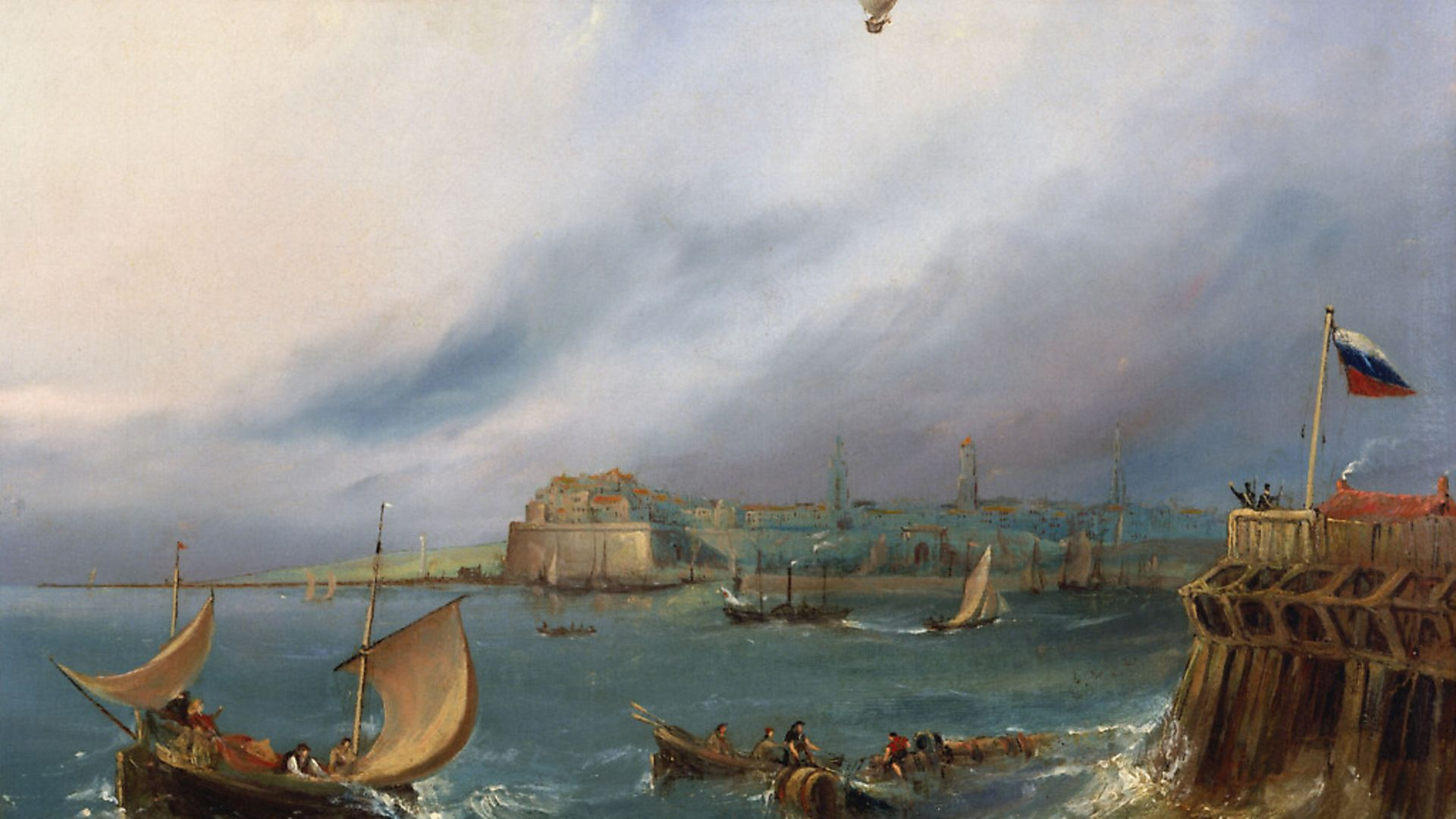 An oil painting made c 1840 by E W Cocks depicts Jean-Pierre Blanchard's balloon arriving at Calais Harbour in 1785. Photo by SSPL/Getty Images - Credit: SSPL via Getty Images
