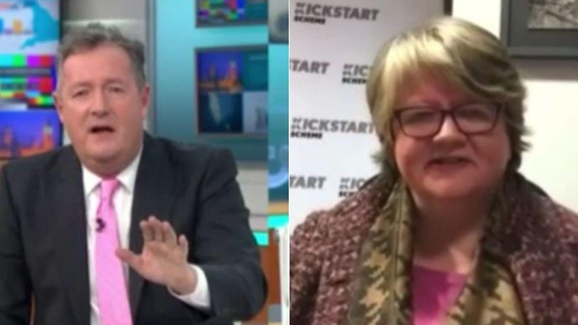 Good Morning Britain presenter Piers Morgan challenges Thérèse Coffey - Credit: ITV