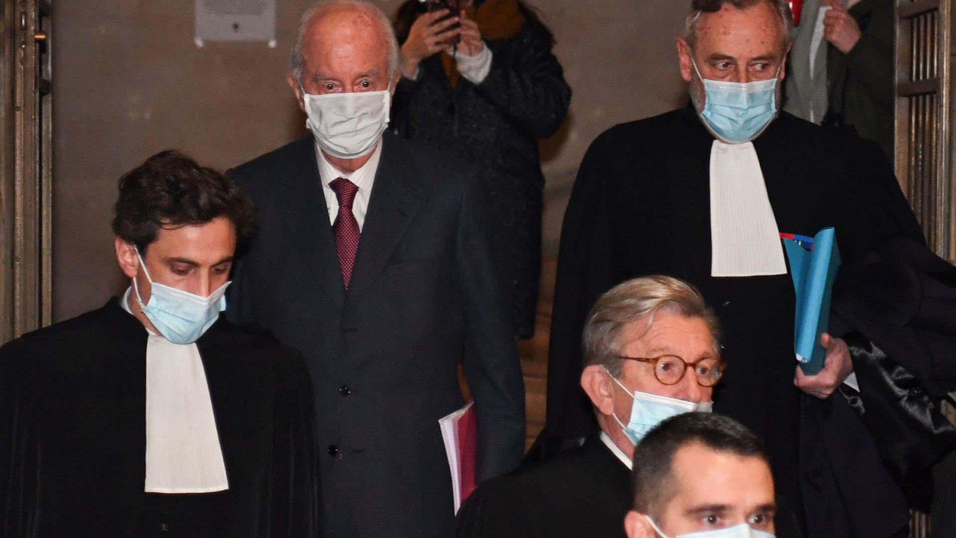 French former prime minister Edouard Balladur (second left) arrives for his trial at the Court of Justice of the Republic, in Paris - Credit: AFP via Getty Images