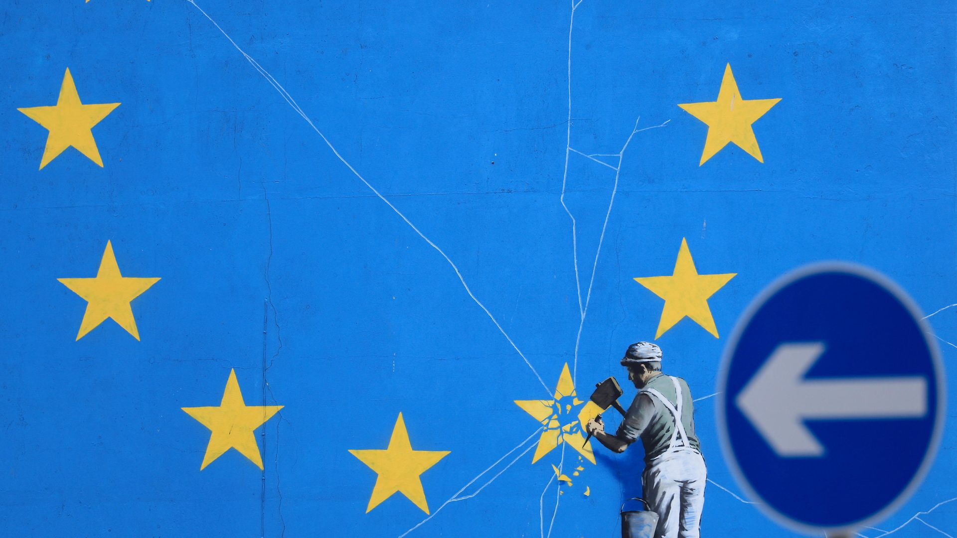 A Brexit-inspired mural by artist Banksy in Dover, Kent - Credit: PA