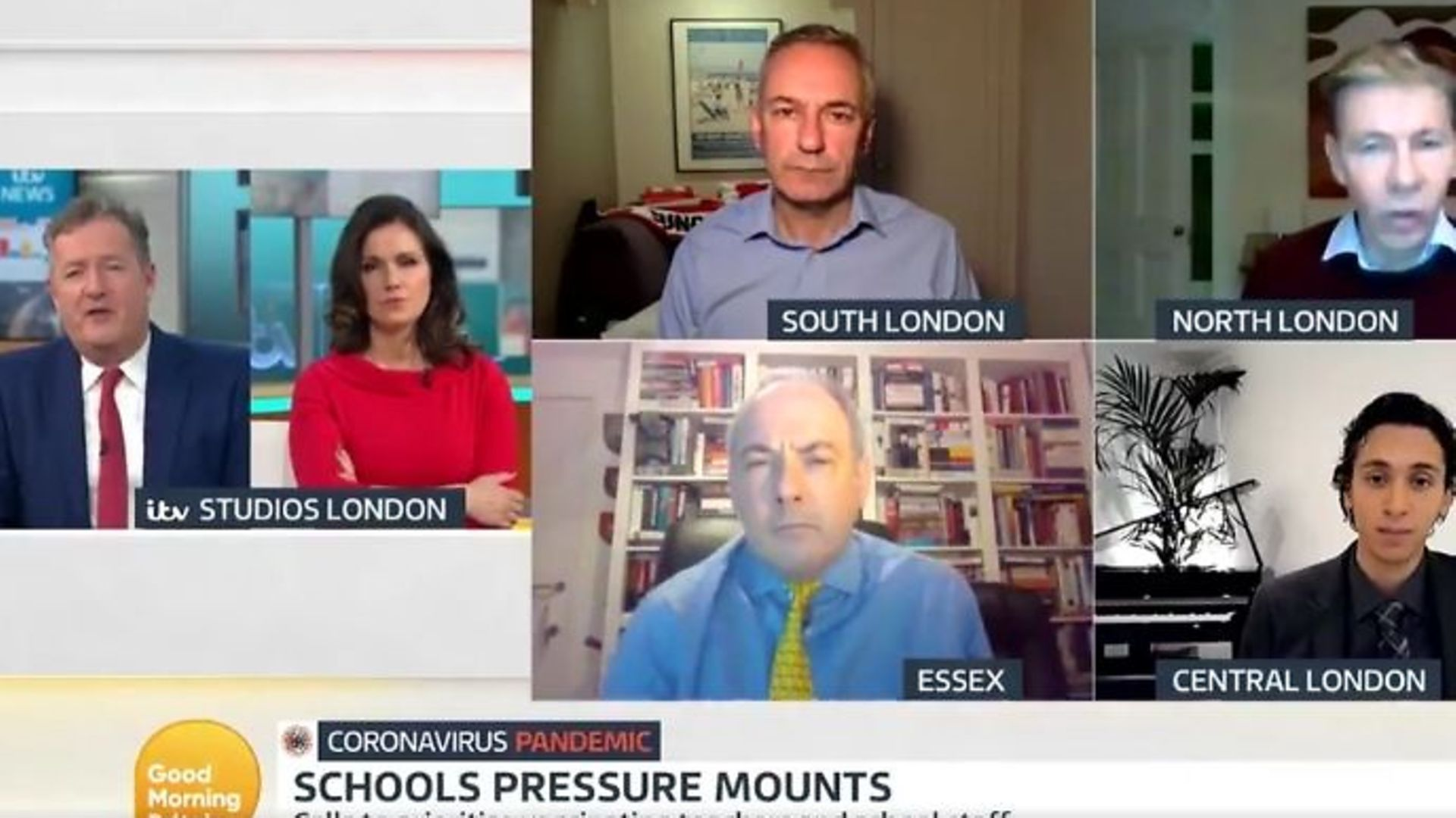 Piers Morgan (far left) and Susanna Reid host a panel to discuss the government's coronavirus measures on Good Morning Britain - Credit: Twitter, GMB