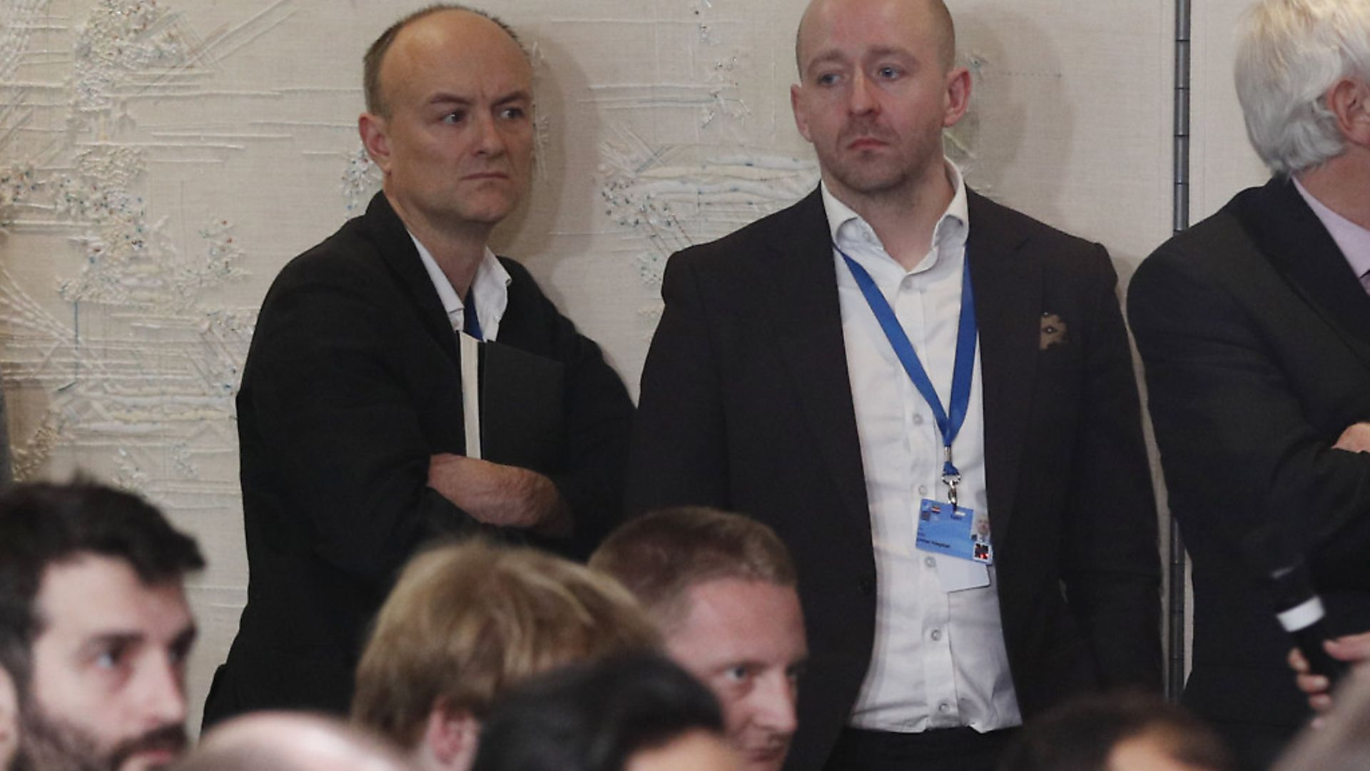 Downing Street special advisor Dominic Cummings (left) and director of communications Lee Cain (right) attend Boris Johnson's press conference during a NATO summit. Photograph: Adrian Dennis/PA. - Credit: PA