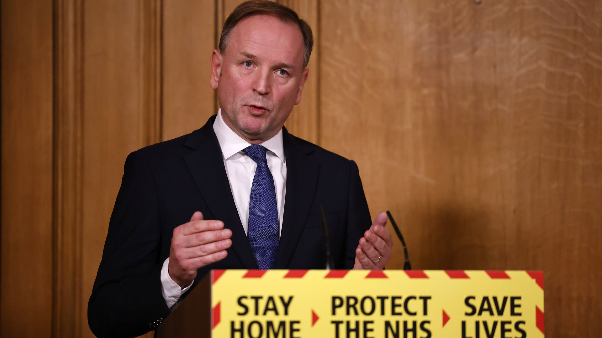 Sir Simon Stevens, Chief Executive of the National Health Service in England during a media briefing on coronavirus (COVID-19) in Downing Street, London. - Credit: PA