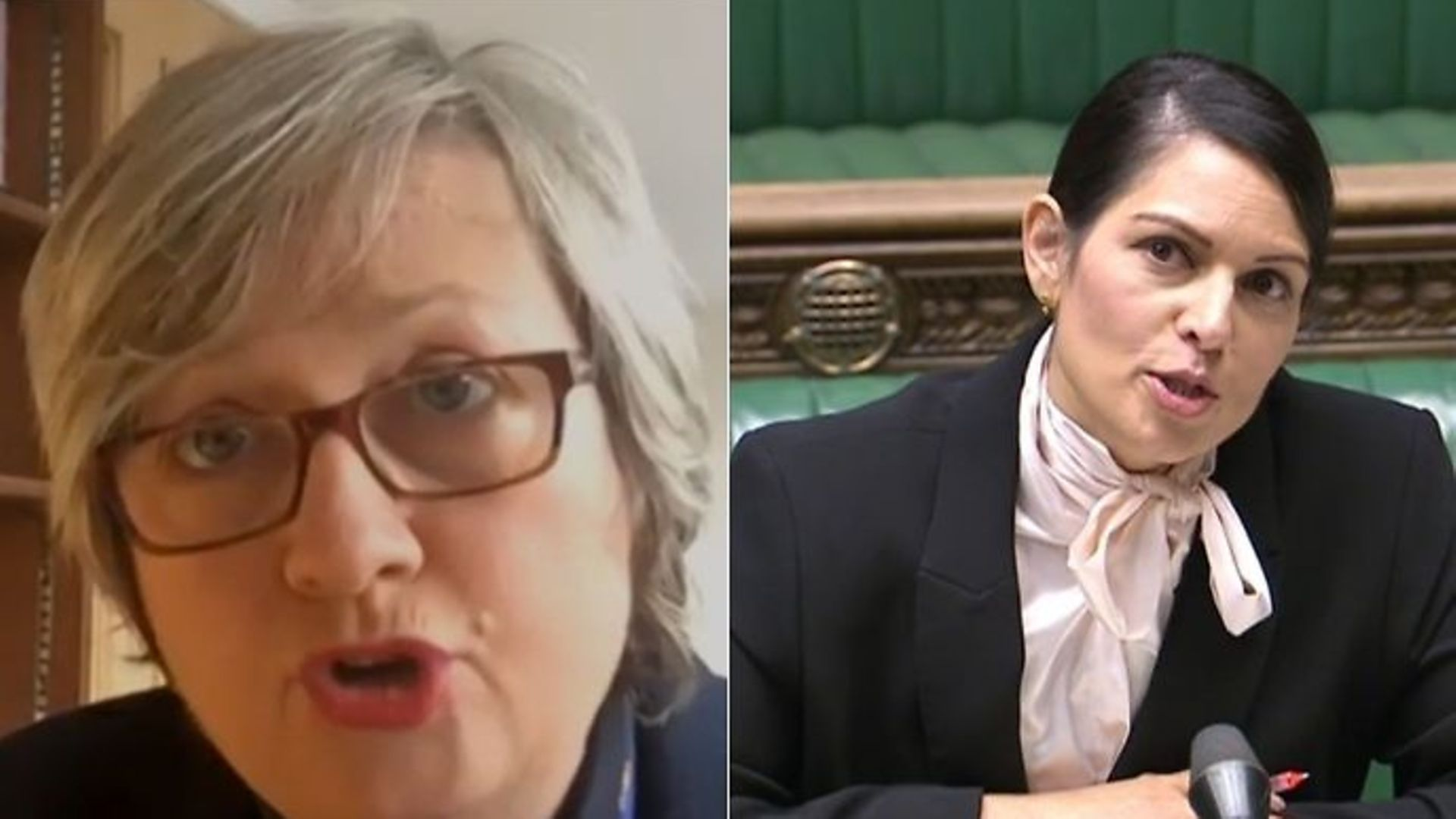The SNP's Joanna Cherry (L) and Priti Patel in the House of Commons - Credit: Parliamentlive.tv