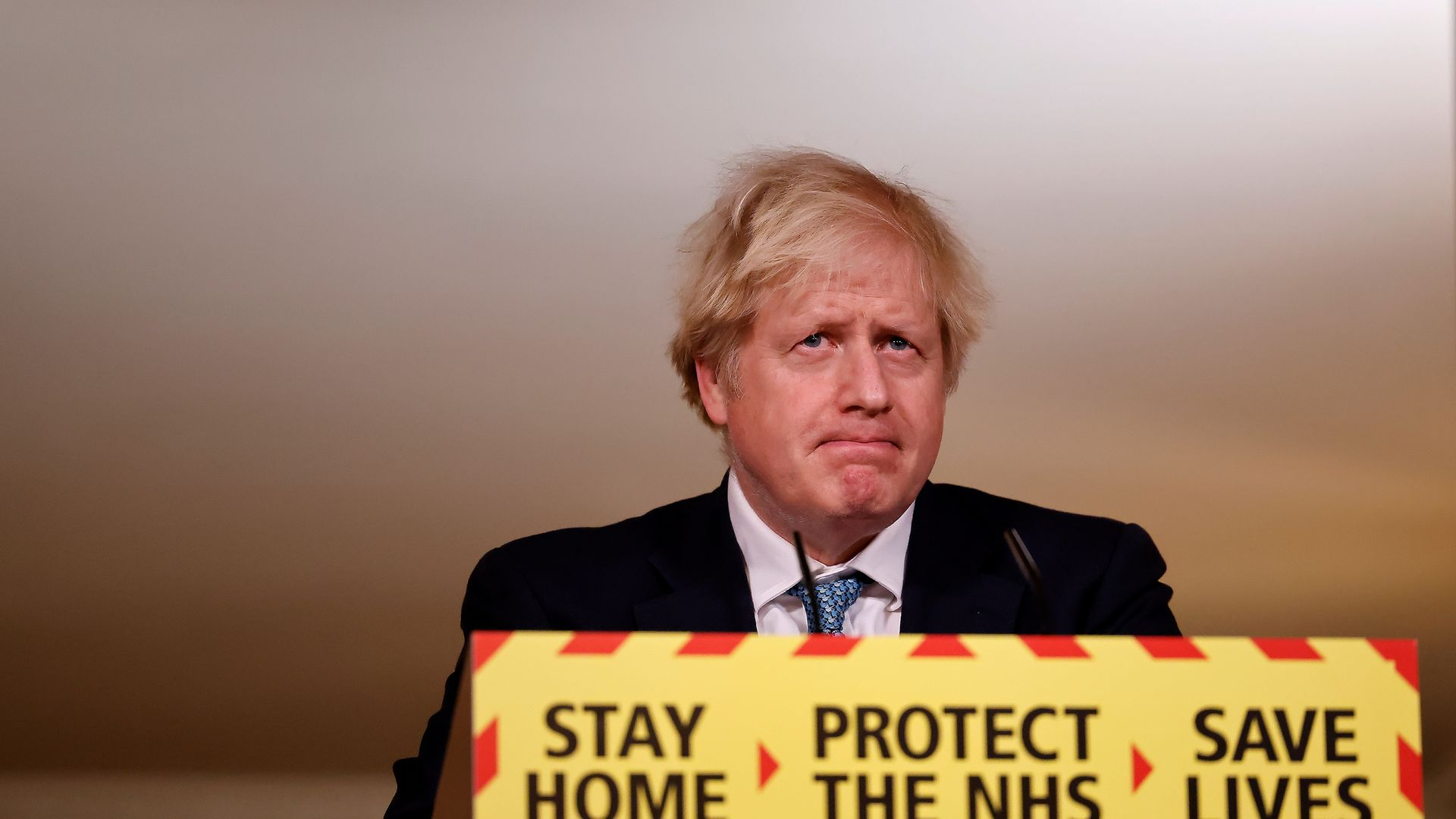 Prime Minister Boris Johnson during a media briefing on coronavirus (COVID-19) in Downing Street, London. - Credit: PA