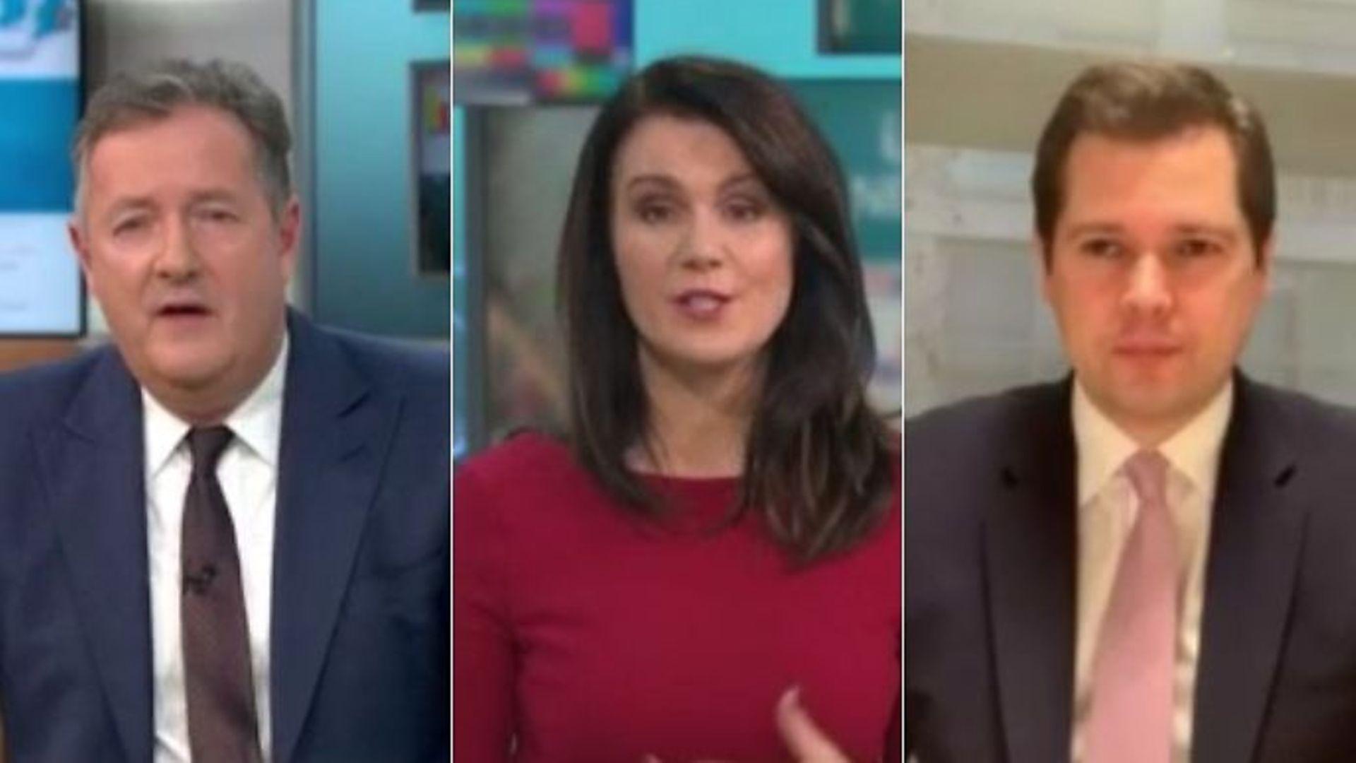 Communities secretary Robert Jenrick interviewed by Susanna Reid and Piers Morgan - Credit: ITV