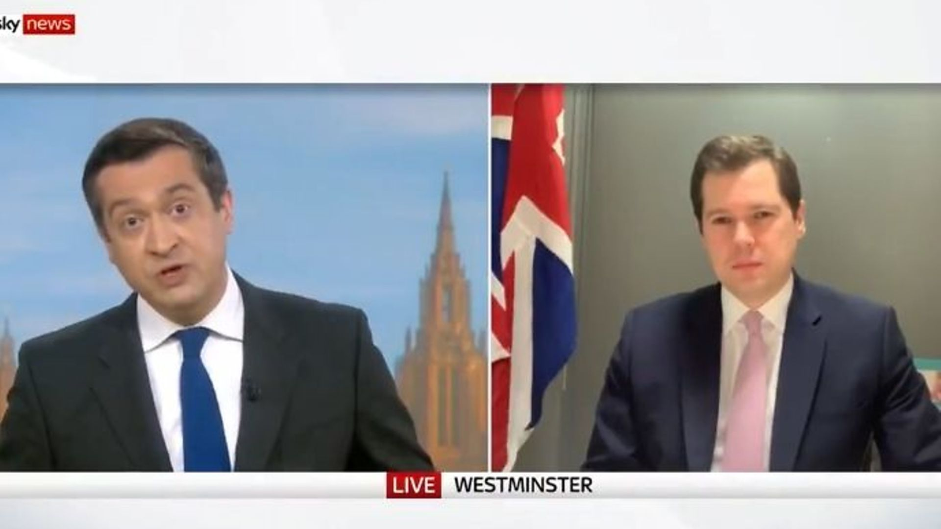 Niall Paterson (L) and Robert Jenrick on Sky News - Credit: Twitter, Sky News