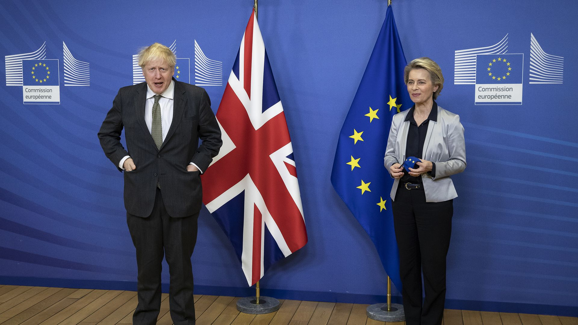 Prime Minister Boris Johnson in Brussels, Belgium, for a dinner with European Commission president Ursula von der Leyen where they will try to reach a breakthrough on a post-Brexit trade deal. - Credit: PA