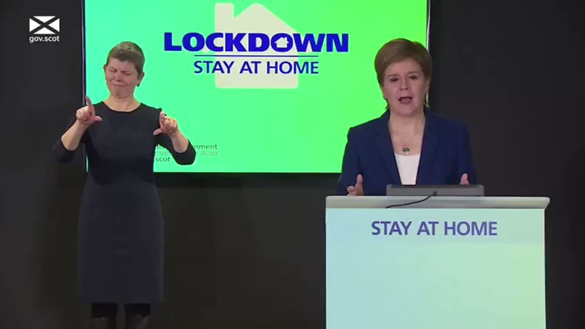 Nicola Sturgeon at the latest coronavirus press briefing - Credit: Twitter