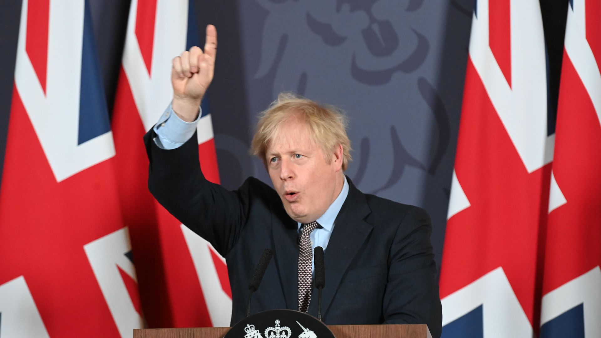 Prime Minister Boris Johnson during a media briefing in Downing Street, London, on the agreement of a post-Brexit trade deal. - Credit: PA