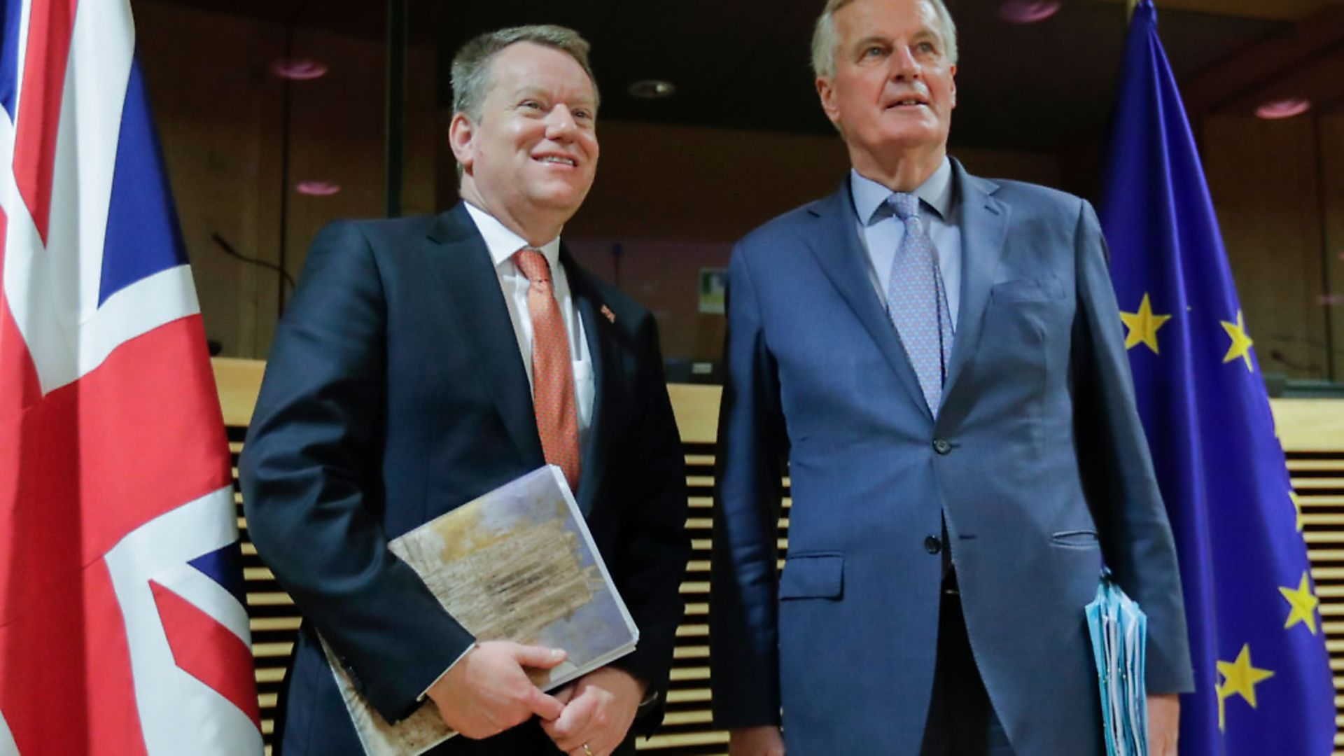 European Union chief Brexit negotiator Michel Barnier (R) and the British Prime Minister's Europe adviser David Frost pose for a photograph in March (Photo by OLIVIER HOSLET/POOL/AFP via Getty Images). - Credit: POOL/AFP via Getty Images