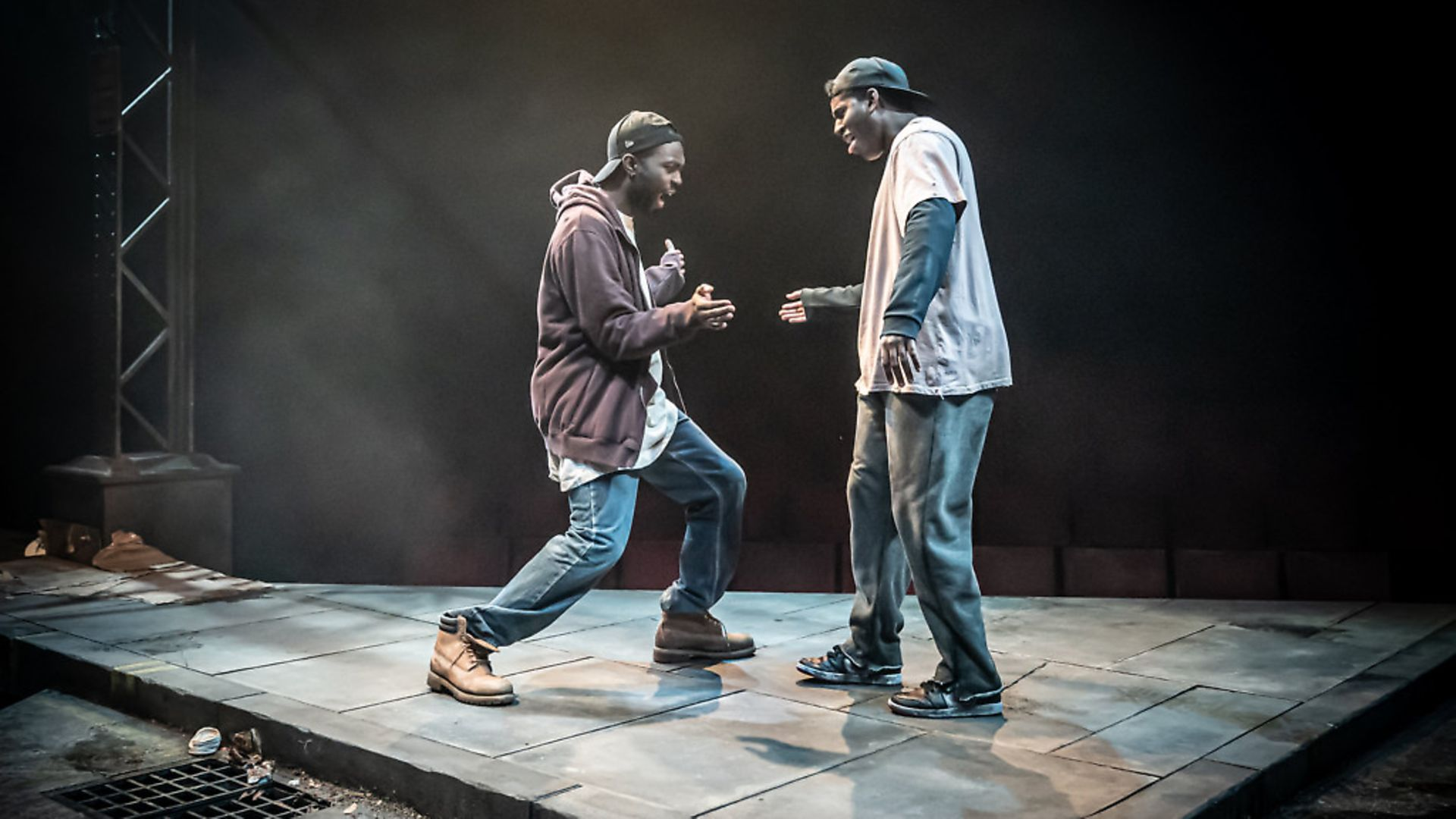 Moses (Paapa Essiedu) and Kitch (Gershwyn Eustache Jr) in Pass Over at Kiln Theatre in London. Picture: Marc Brenner - Credit: Archant